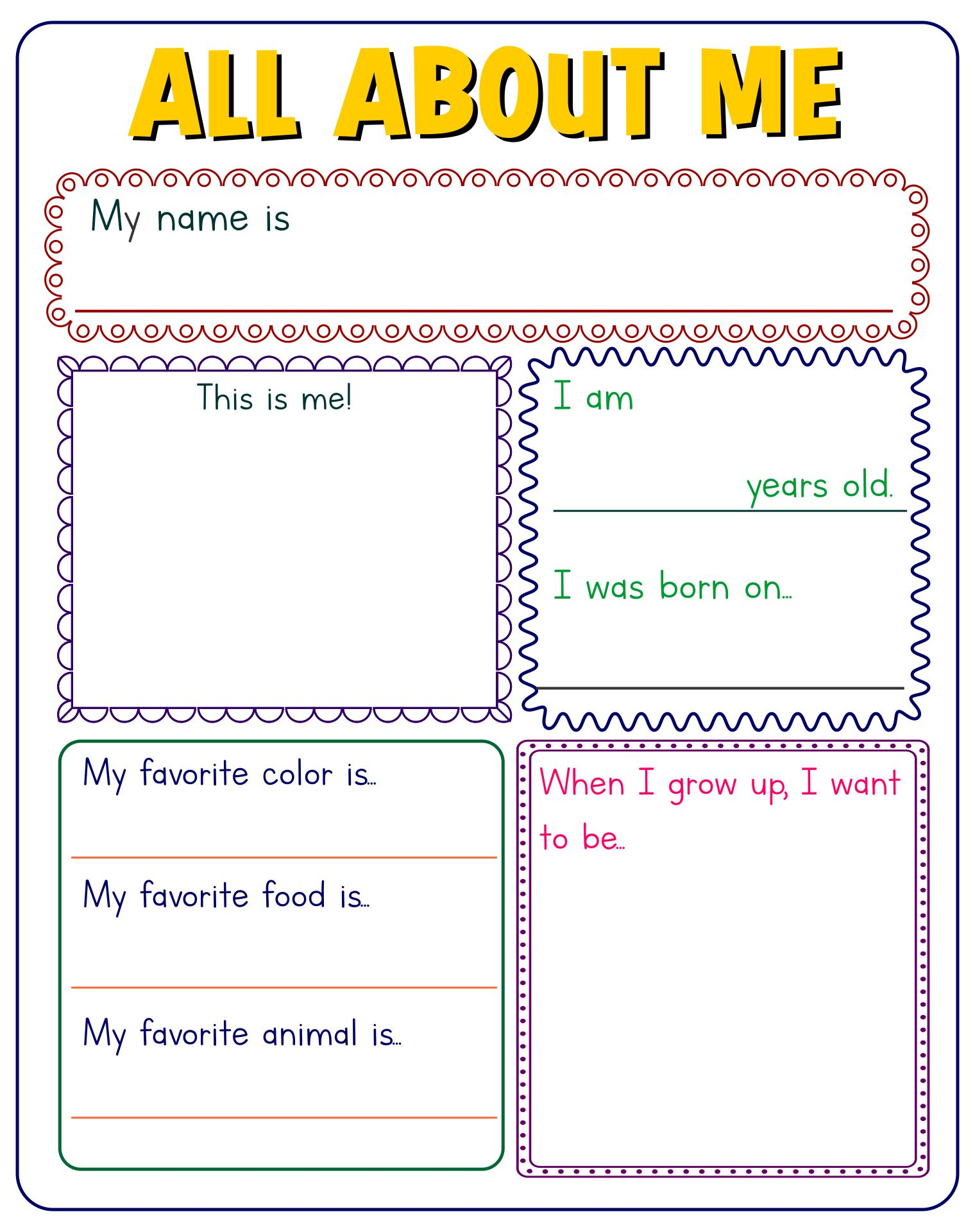 10 Best All About Me Printable Template Printablee Com