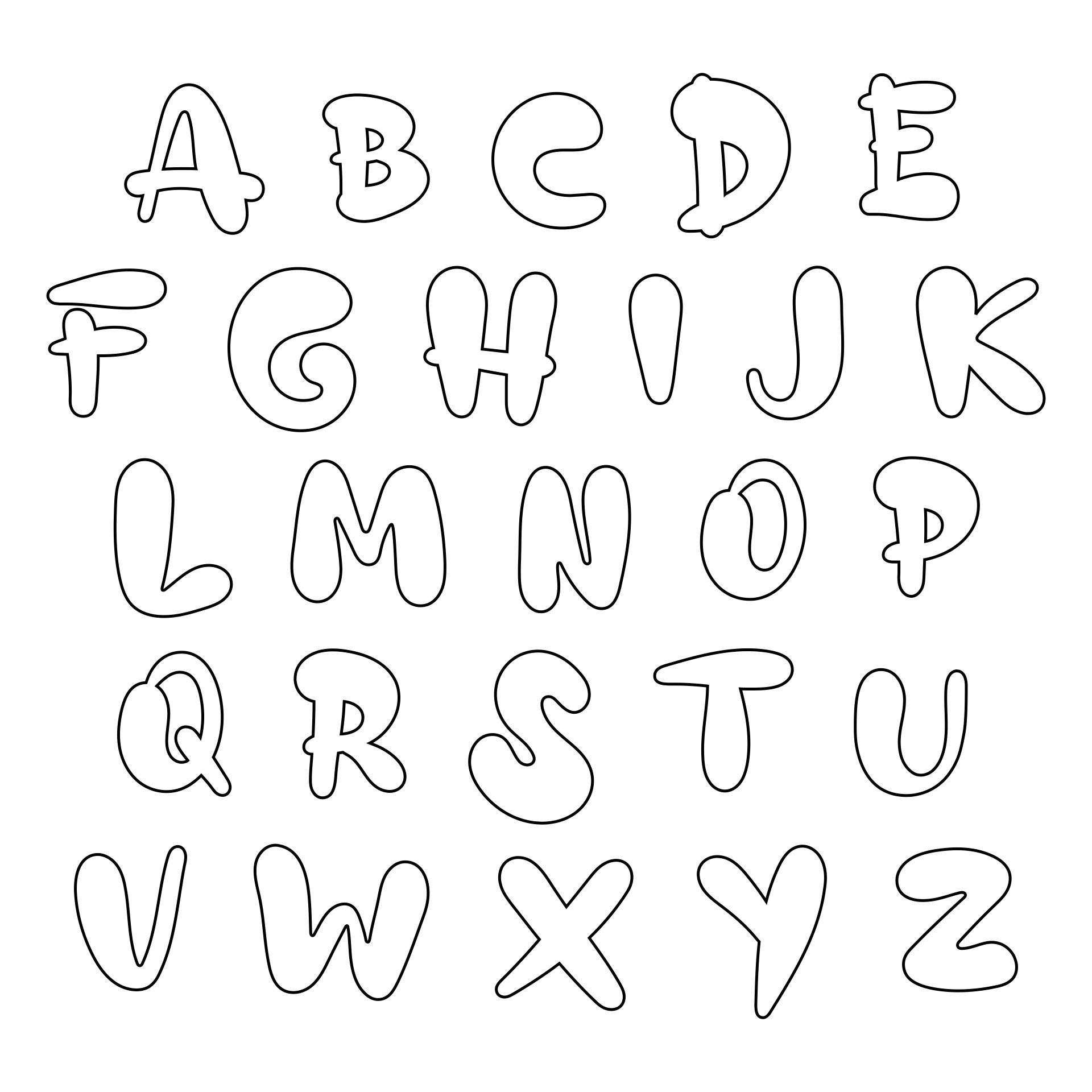 Big Printable Bubble Letters Alphabet