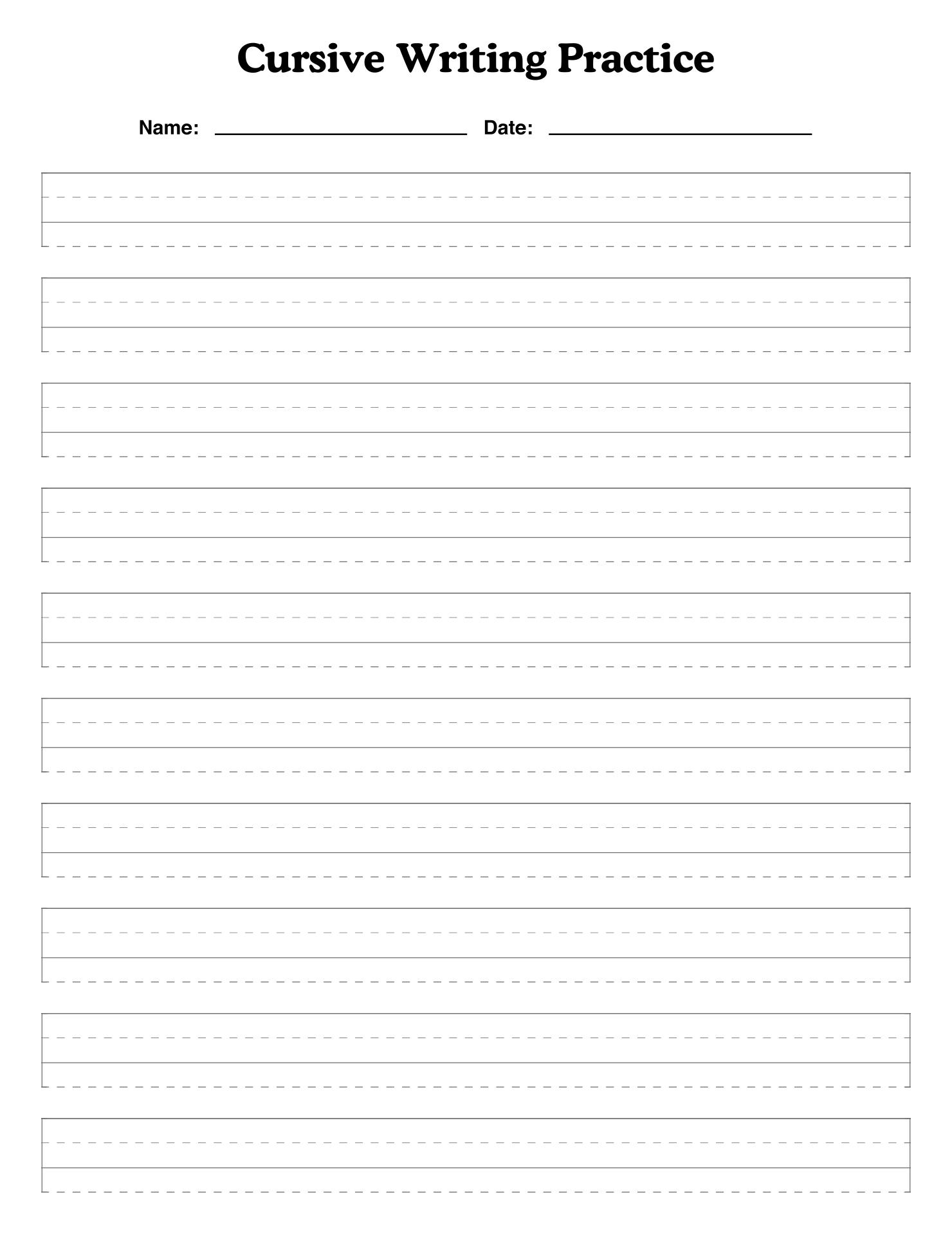 Blank Cursive Writing Practice Sheets