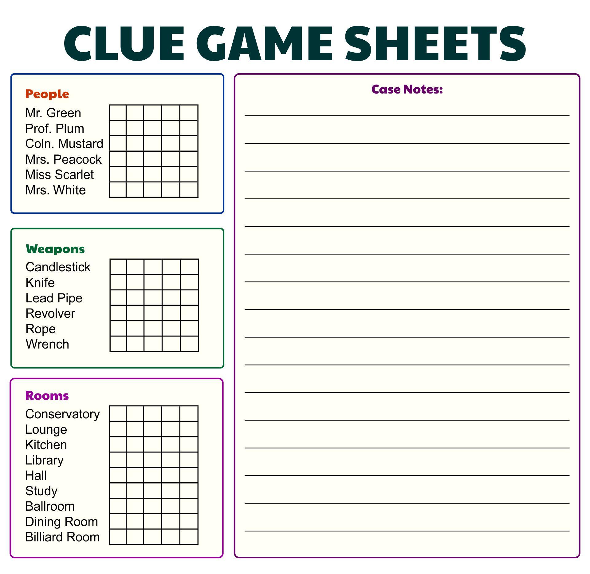Clue Board Game Score Sheets