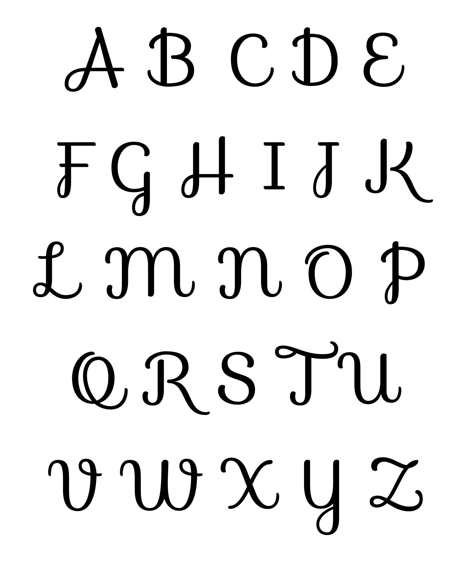 Different Fonts Alphabet Letters