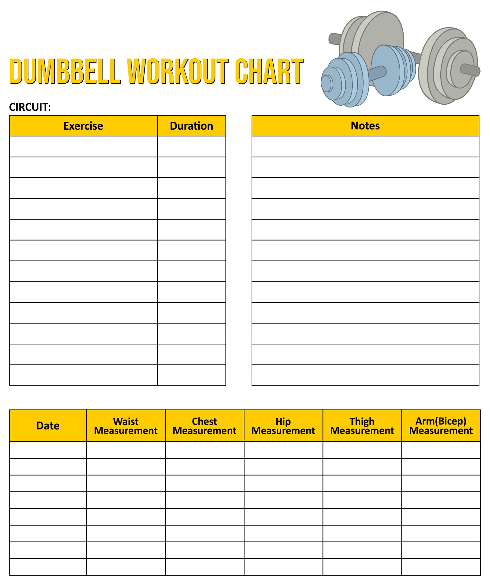 Dumbbell Workout Chart Free