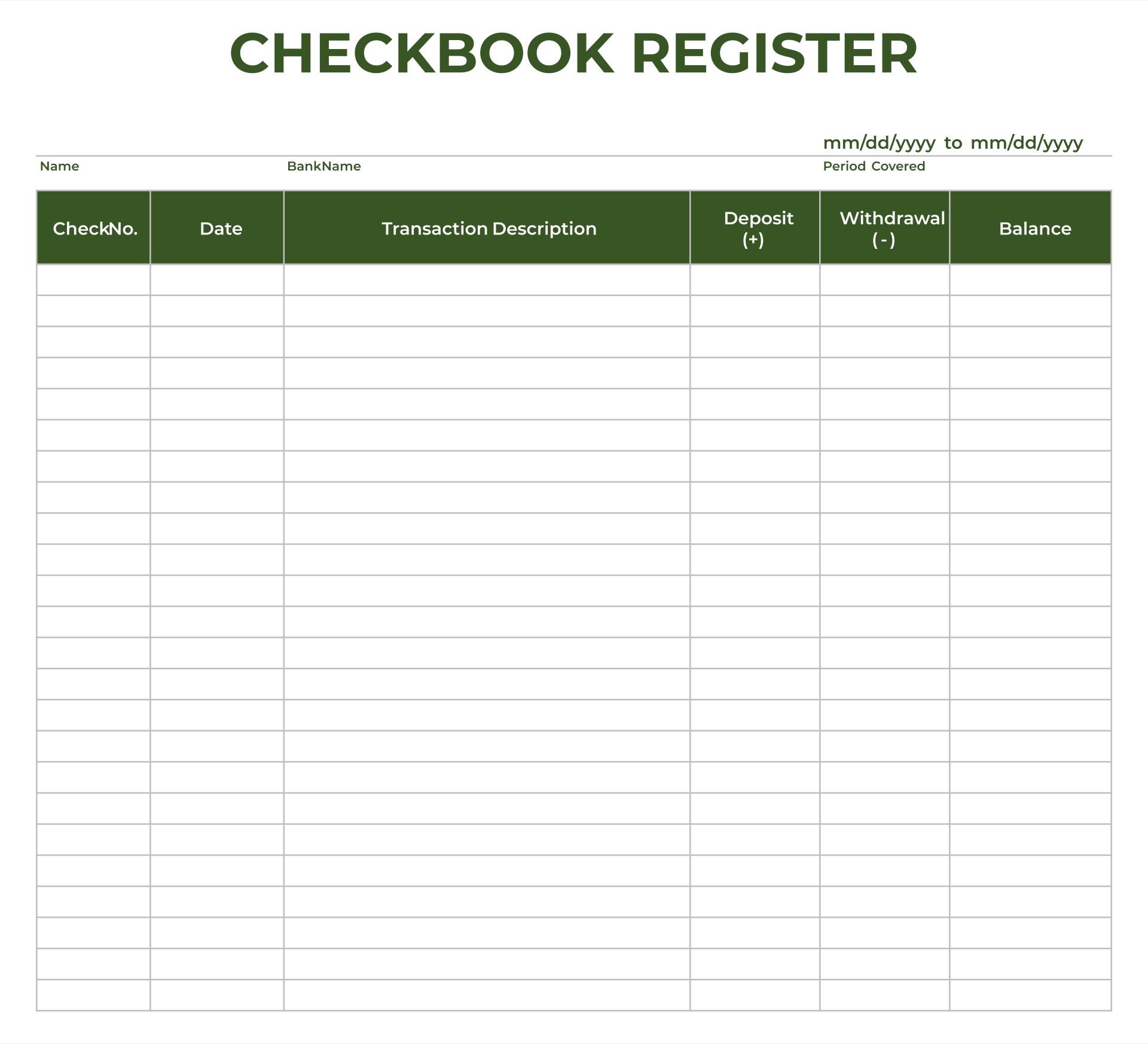 Excel Checkbook Register Budget Worksheet