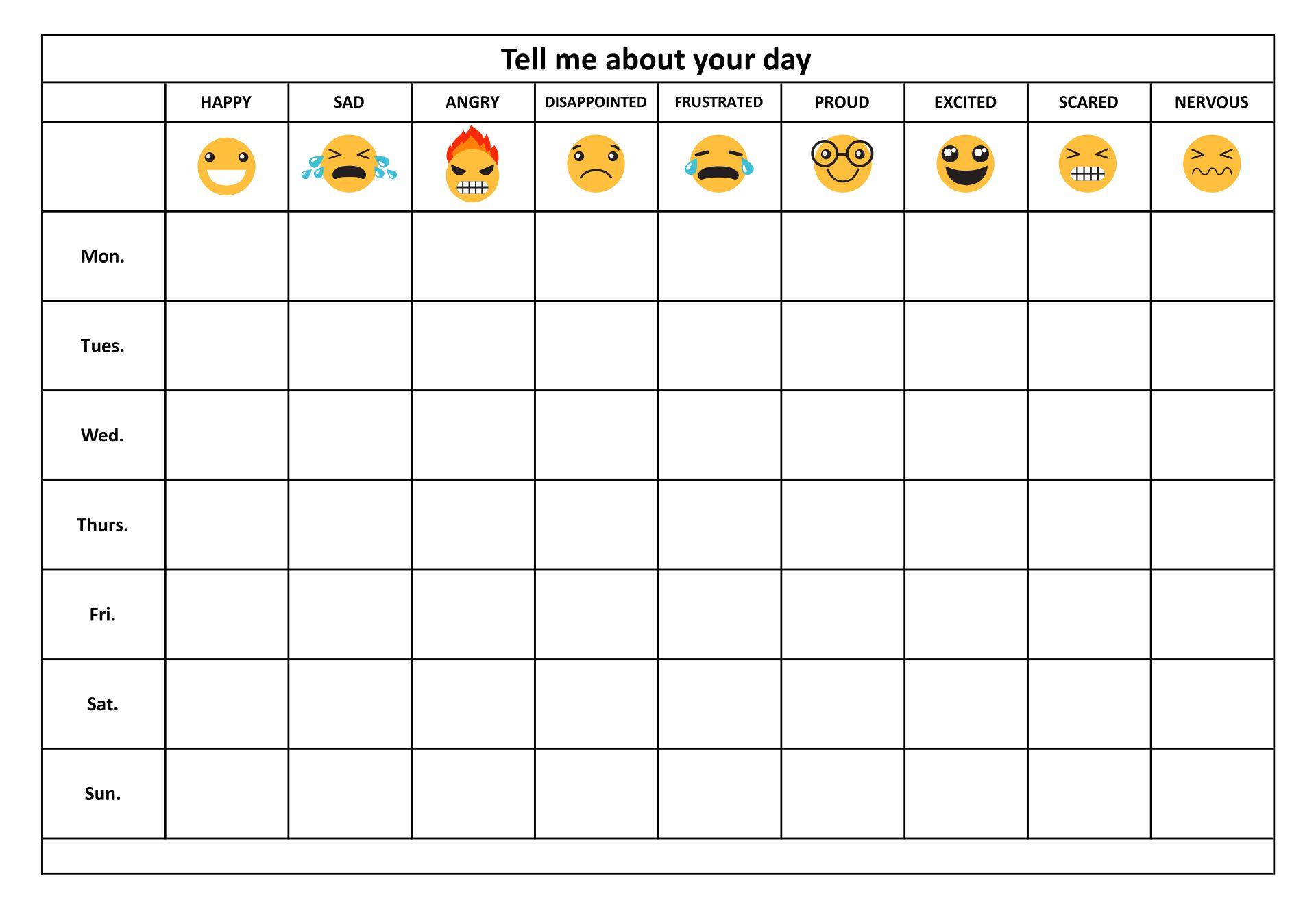 Free Printable Feelings Chart For Preschoolers