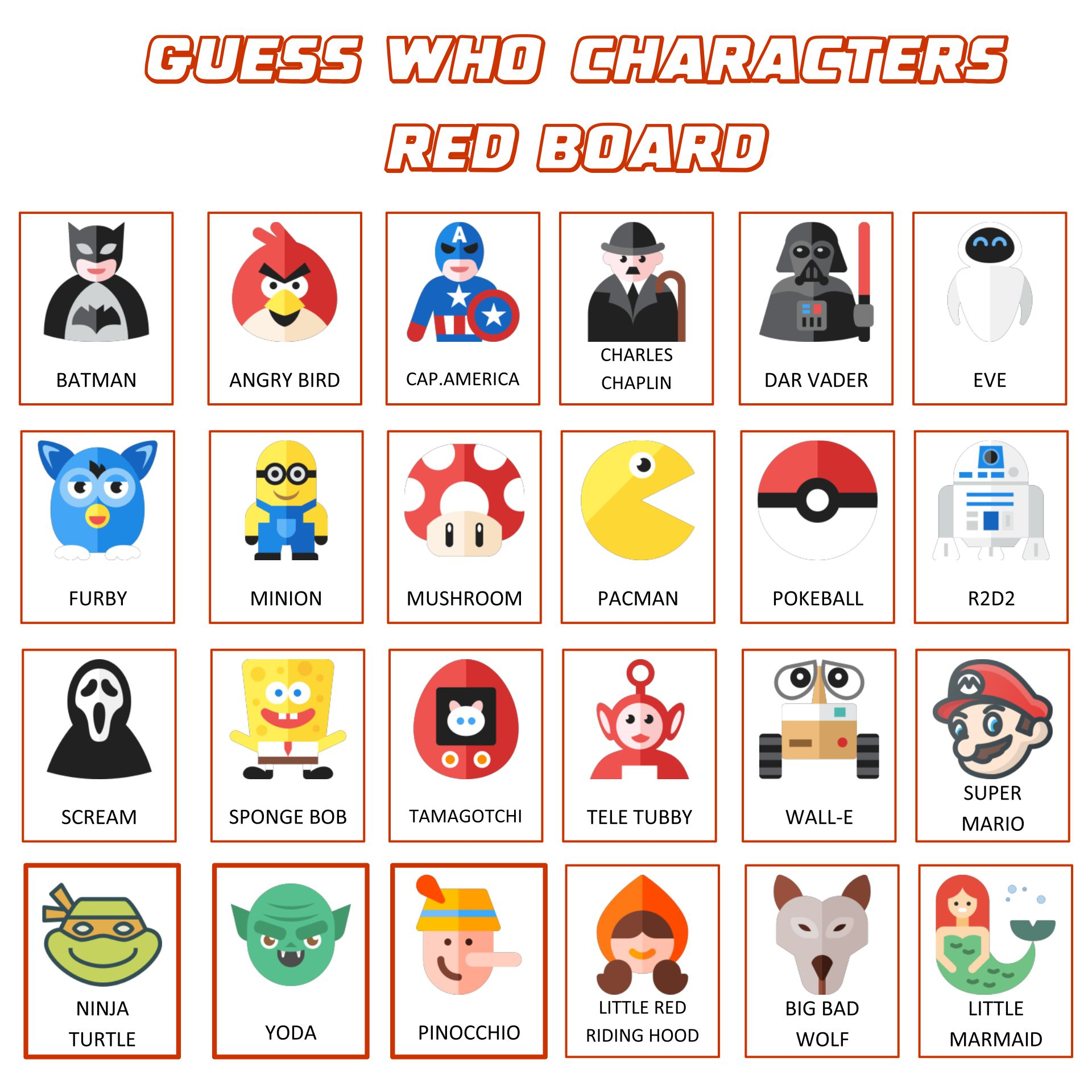 Guess Who Game Character Sheets