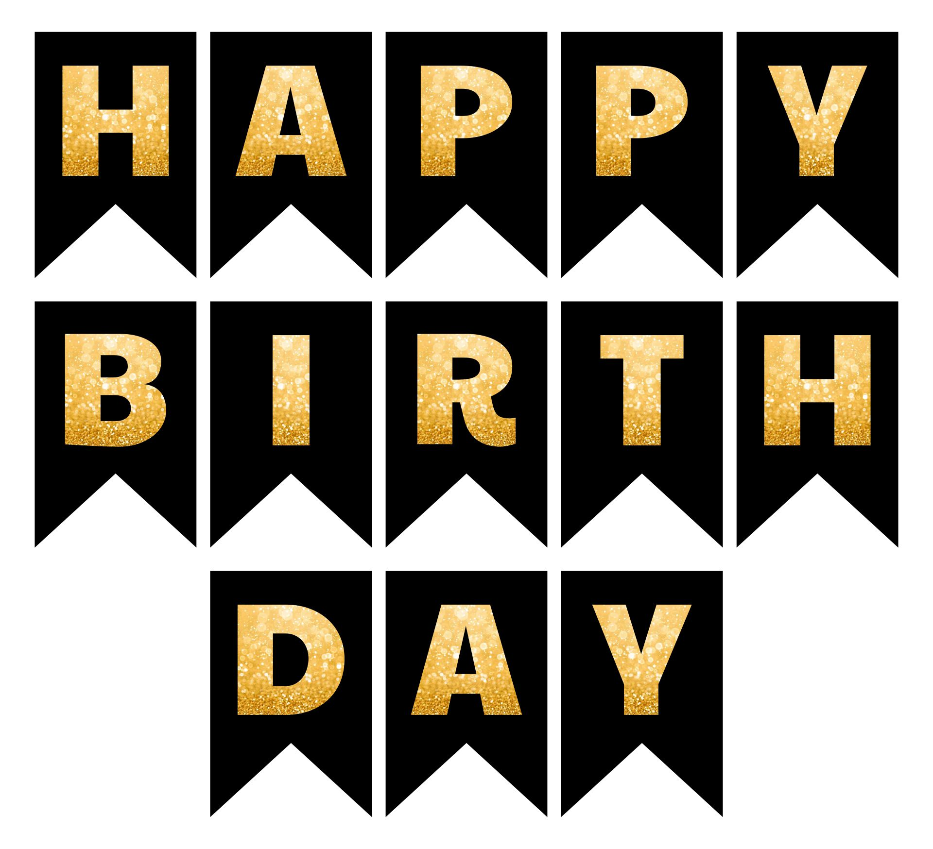 Happy Birthday Printable Letters Black And Gold