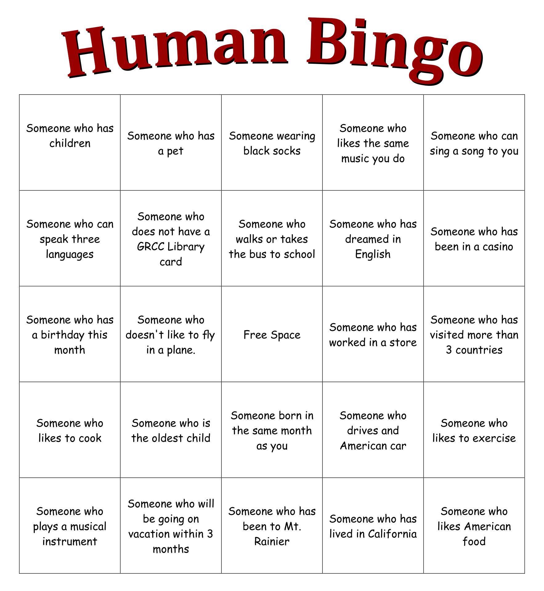 Human Bingo Sheet