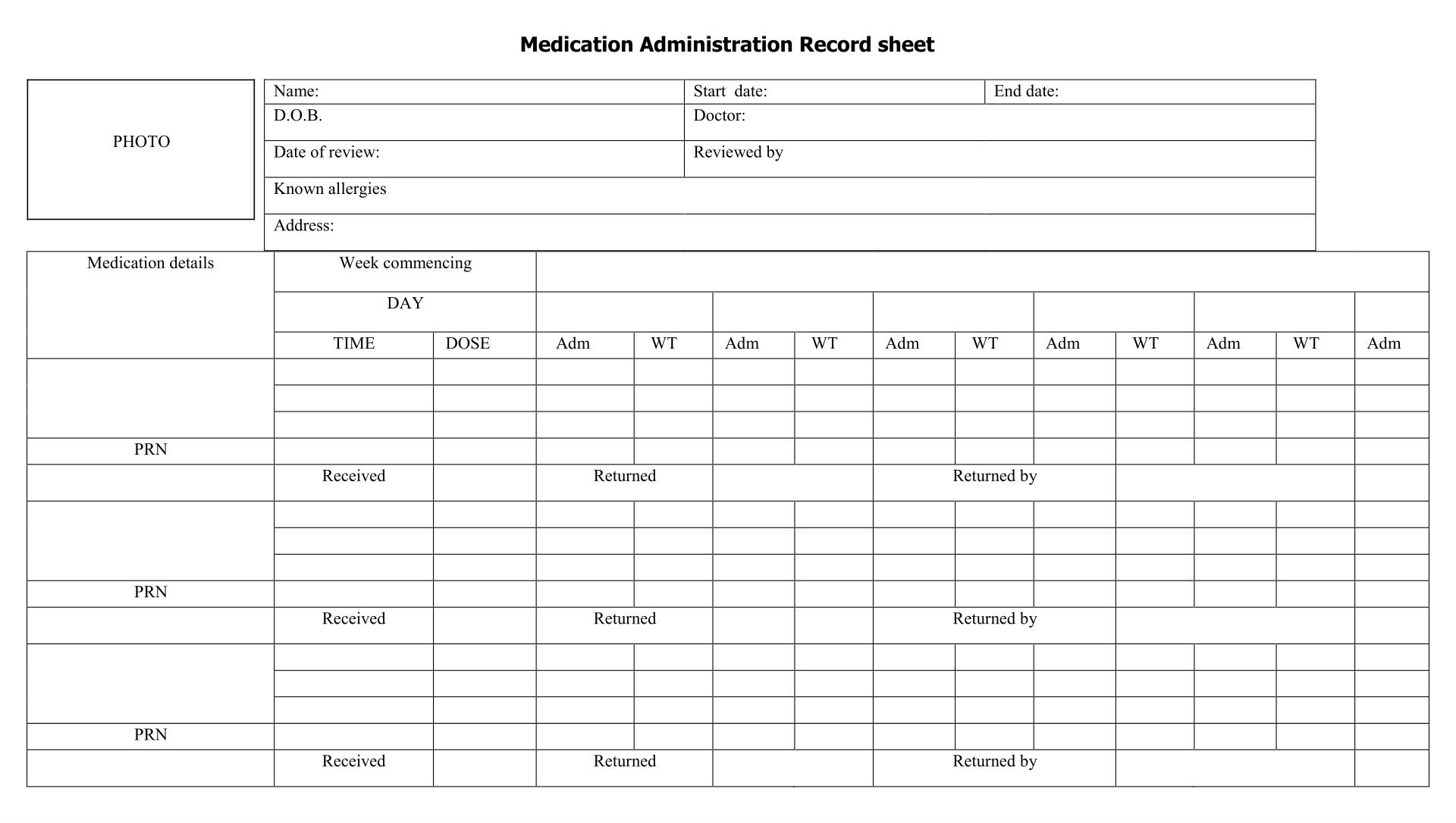 Medication Administration Record Sheet Blank