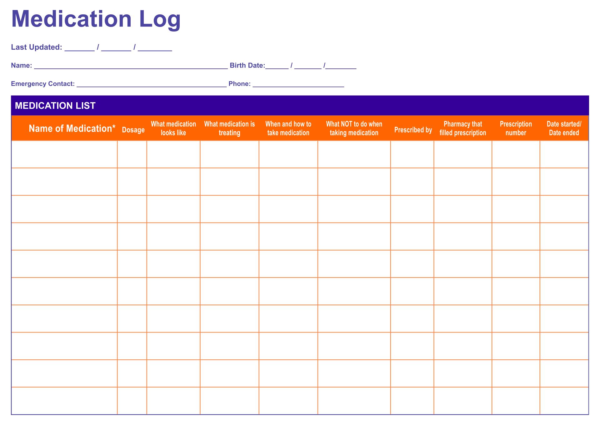 Medication Log Sheet Template