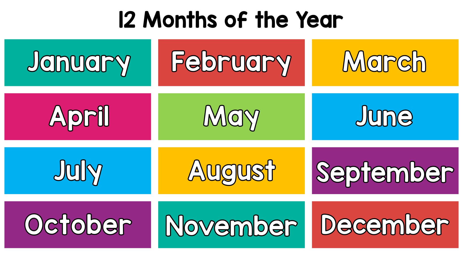 Months Of The Year Chart For Kindergarten