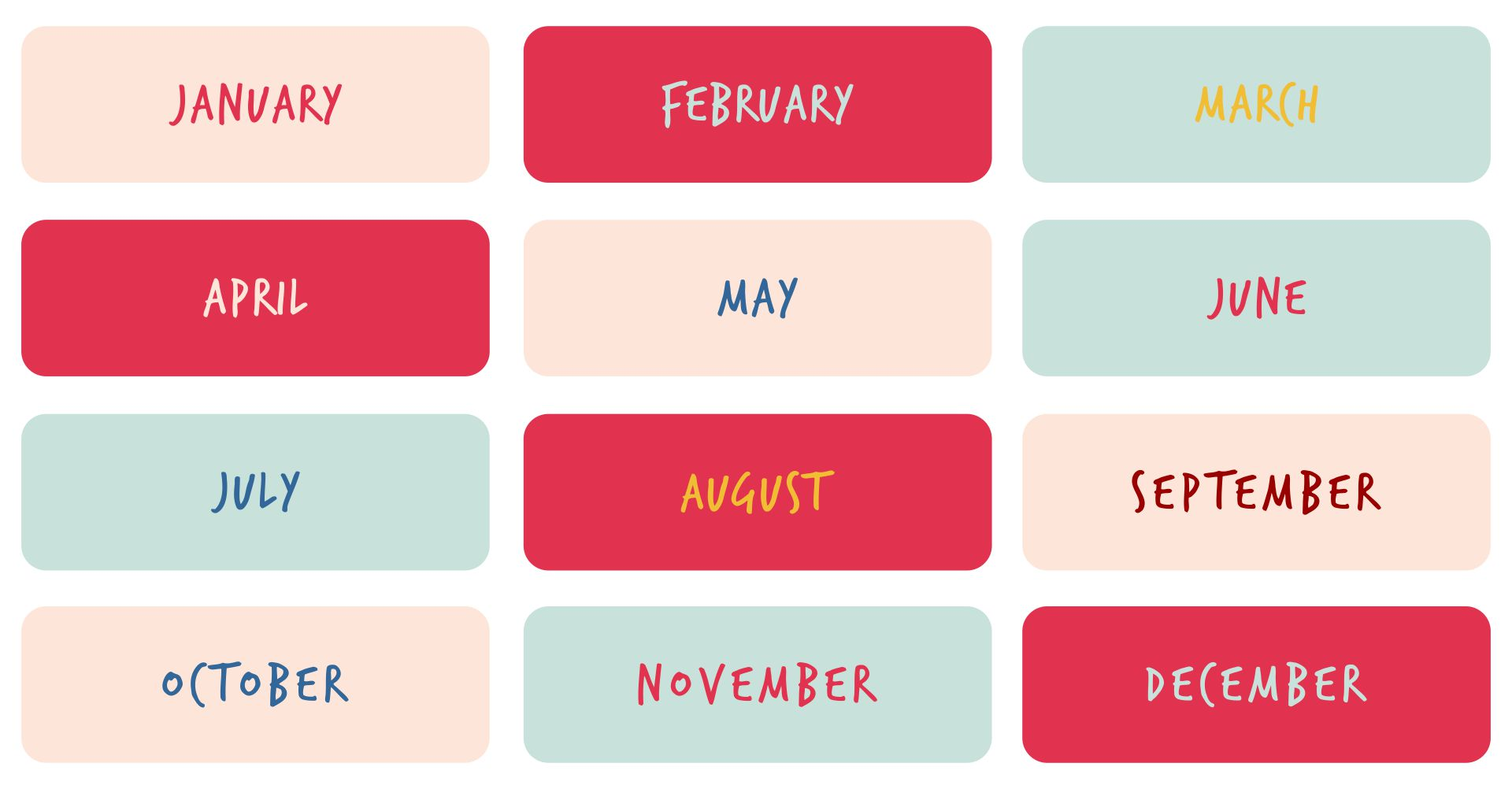 Months Of The Year Chart Free Printable