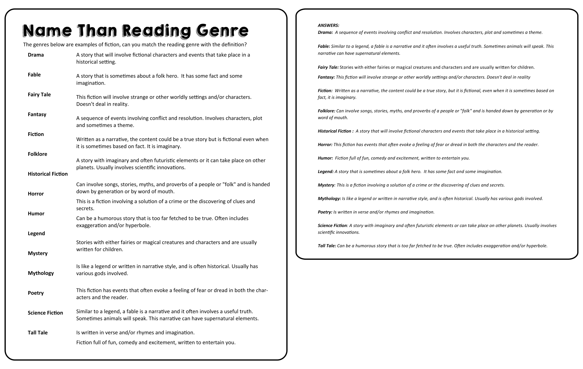 Name That Genre Worksheet Answers