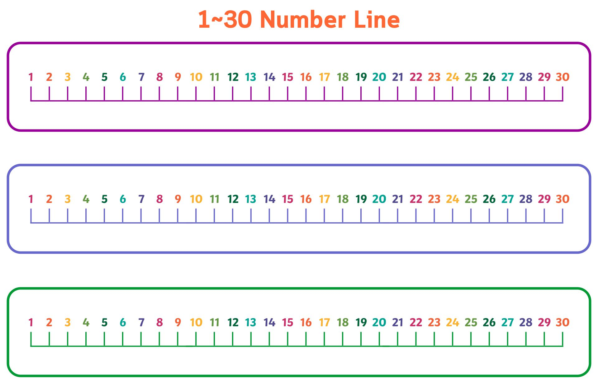 Number Line 1-30 Printable Free