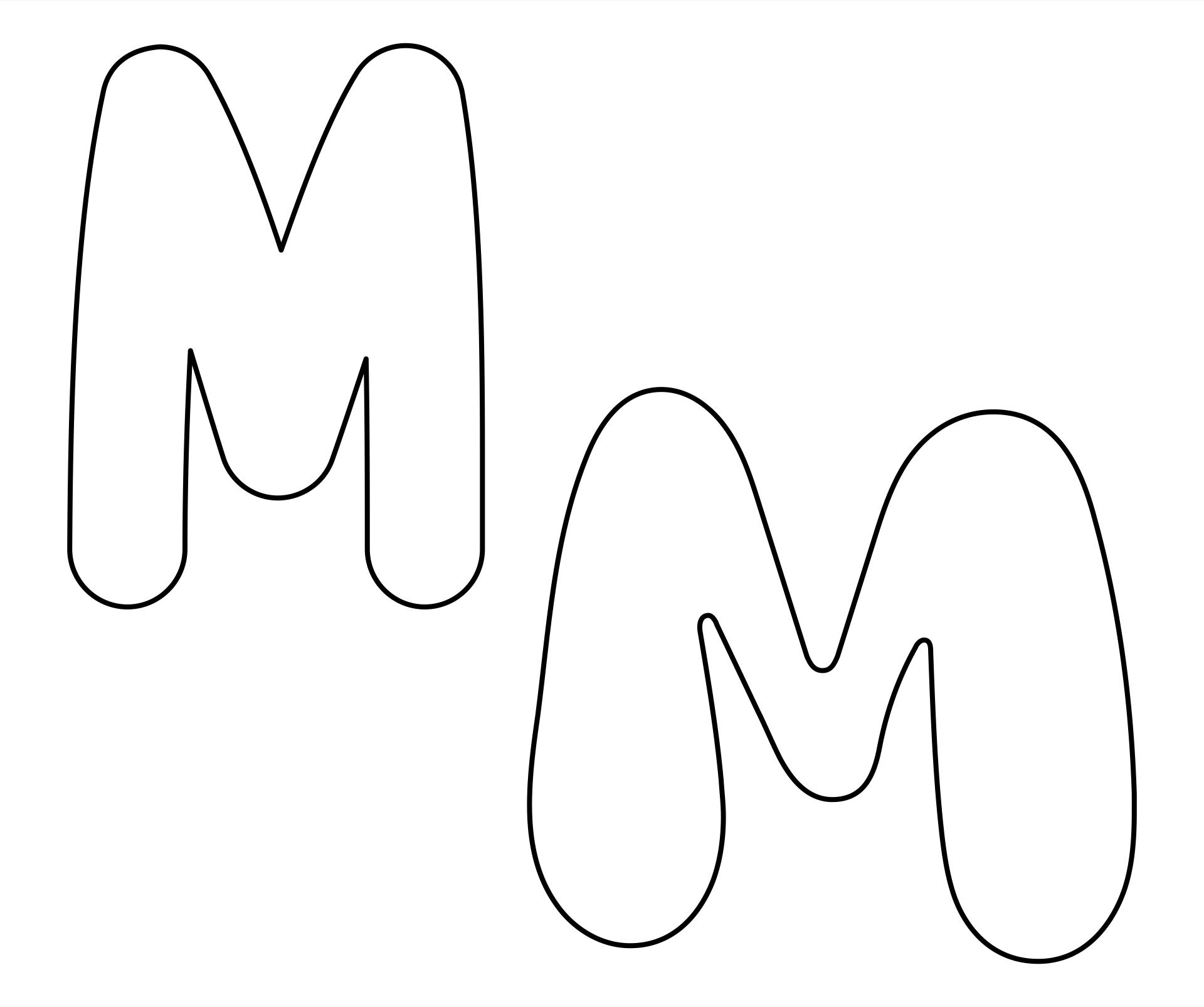 Printable Letter M Outline - Print Bubble Letter M