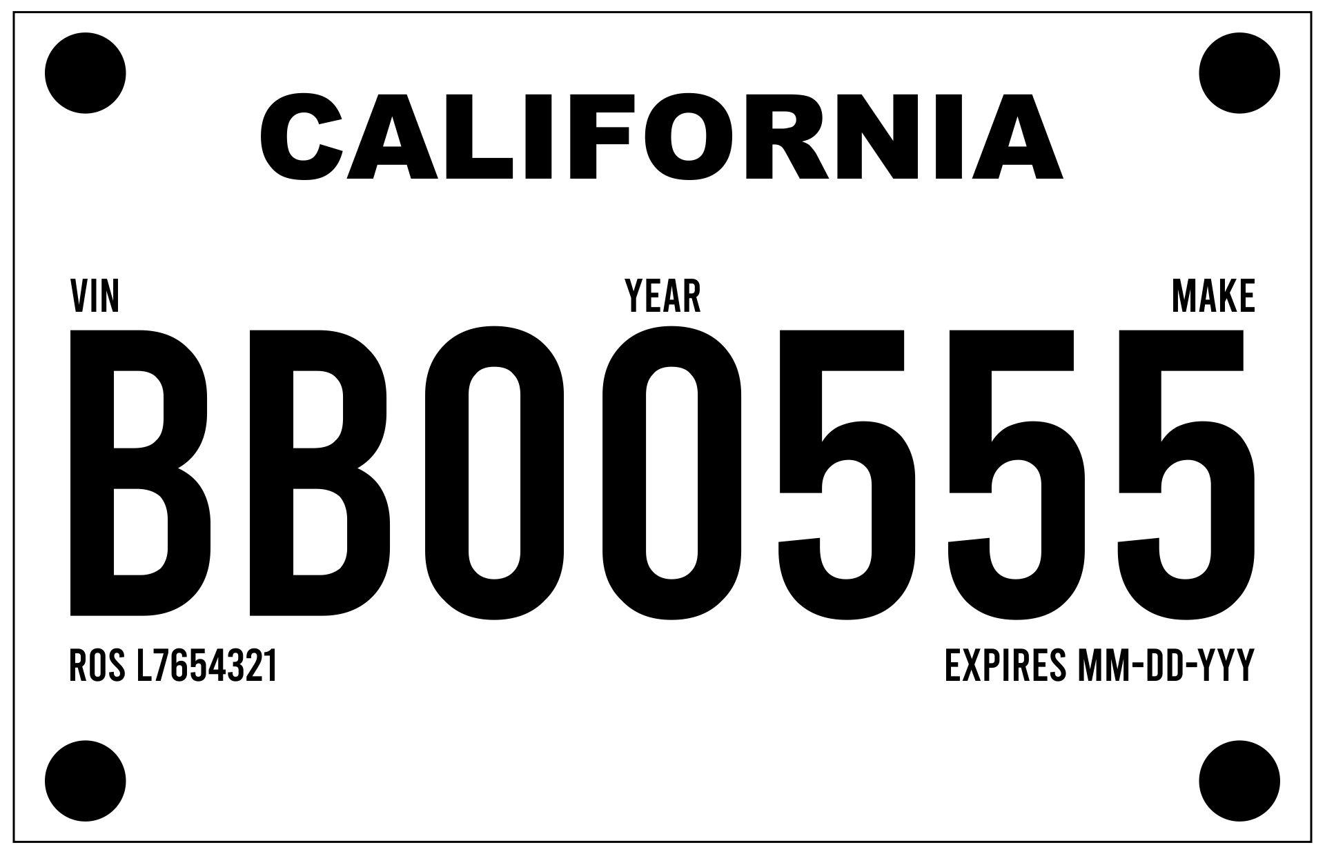 Printable Temporary License Plate Template