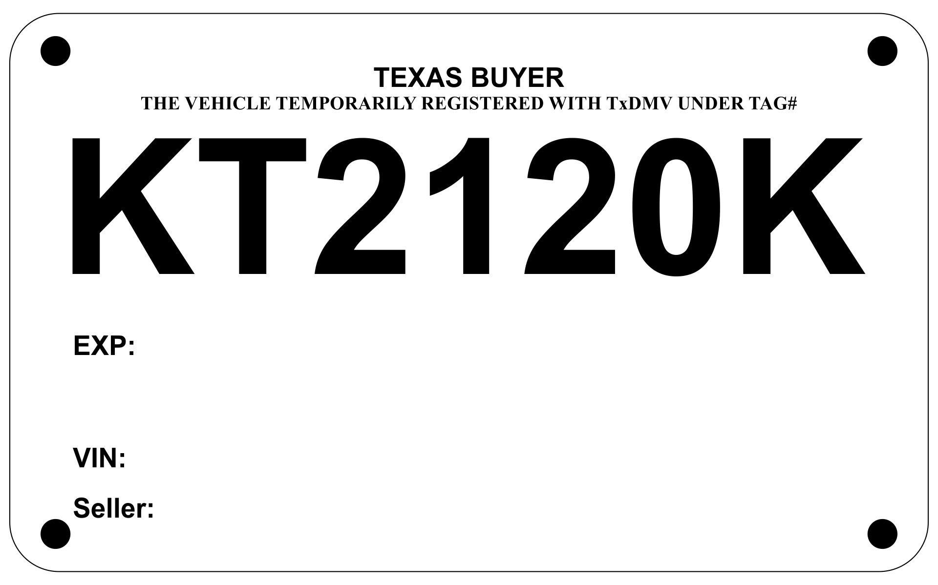 Printable Temporary License Plate Texas