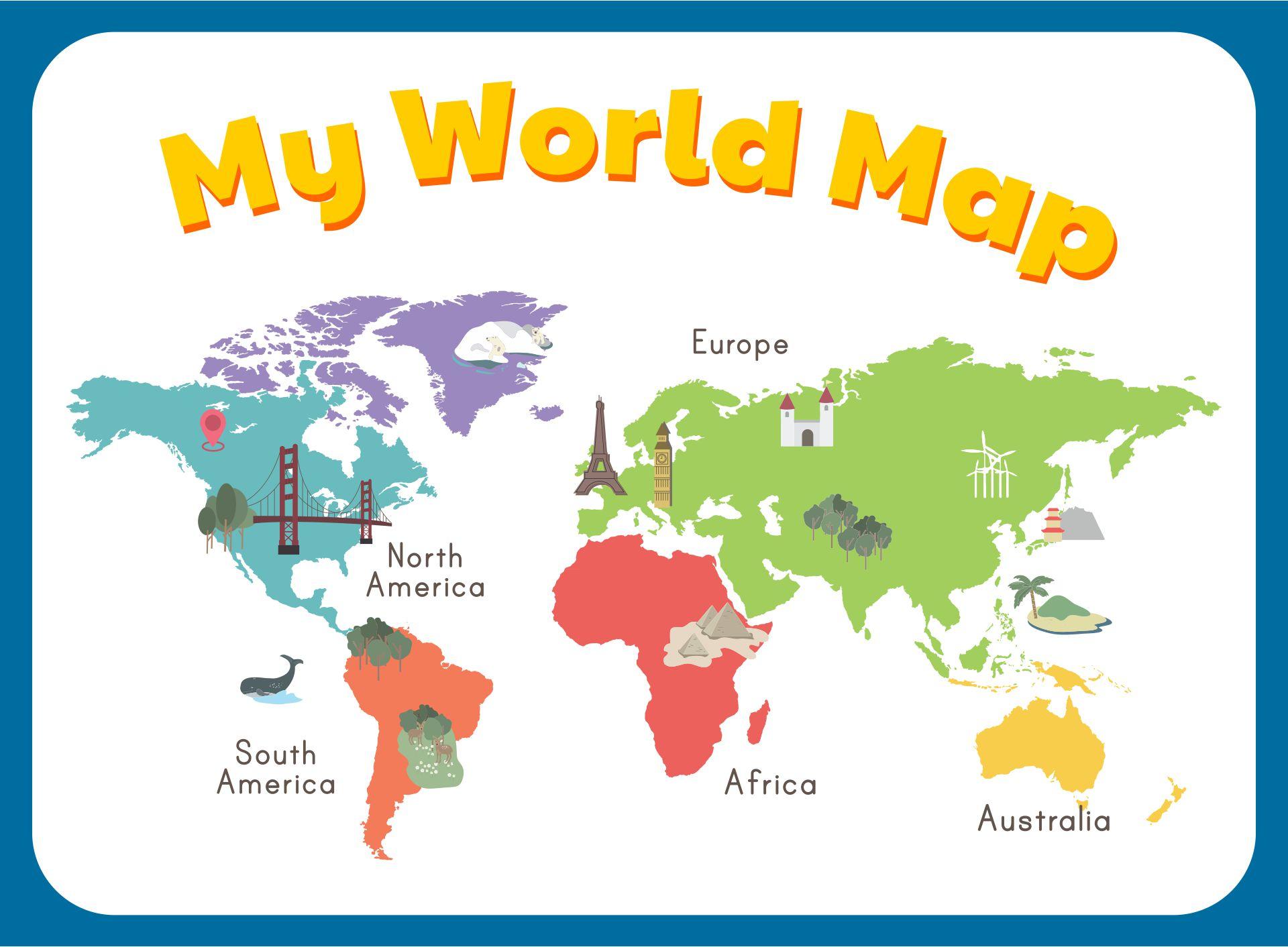 Simple World Map For Kindergarten