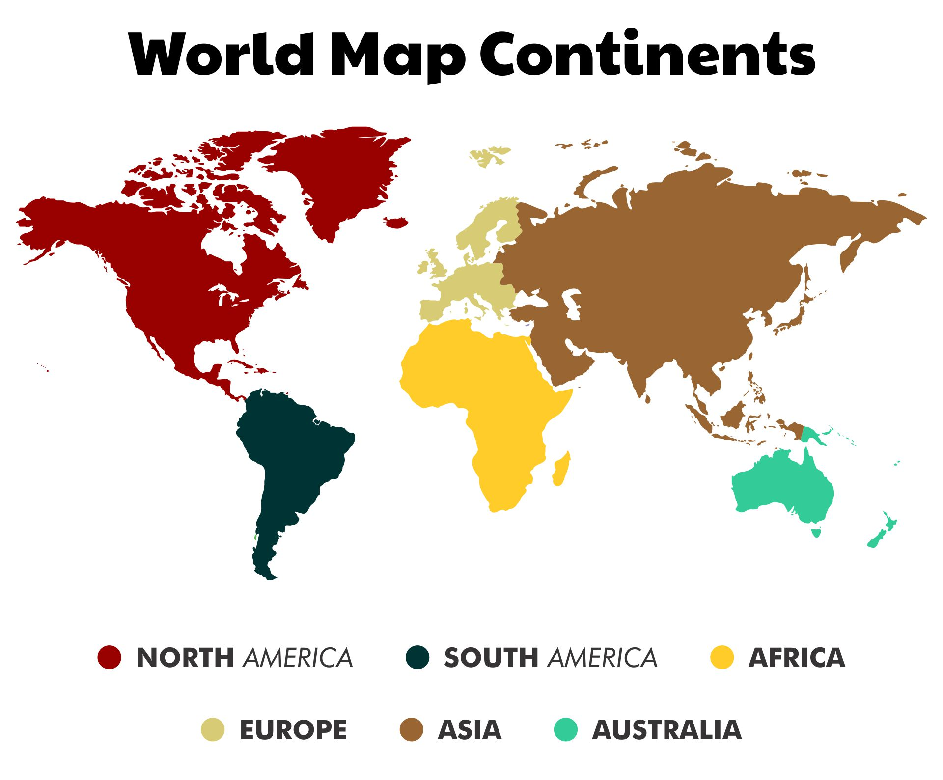 Simple World Map With Continents