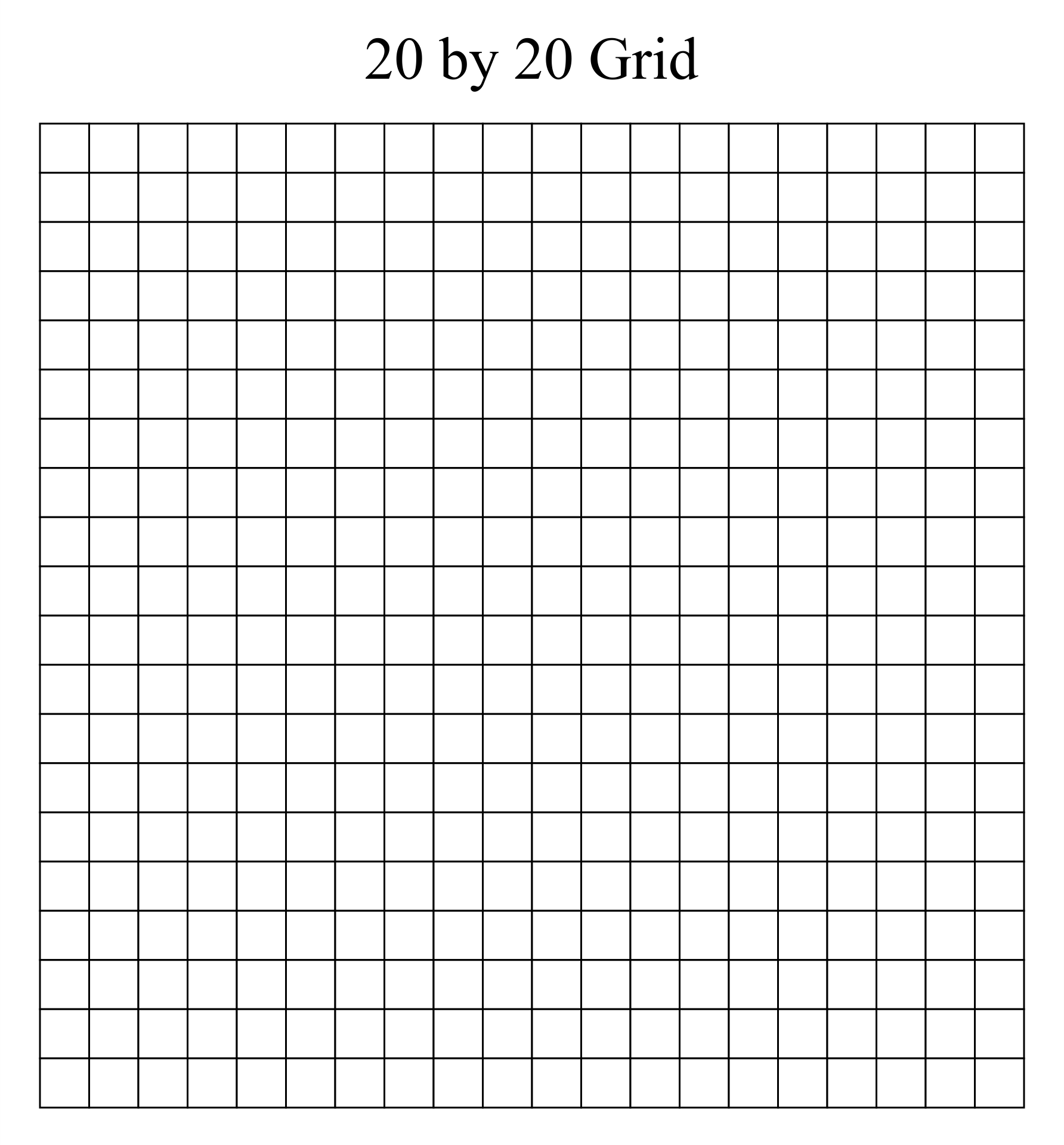 20 By 20 Grid Printable