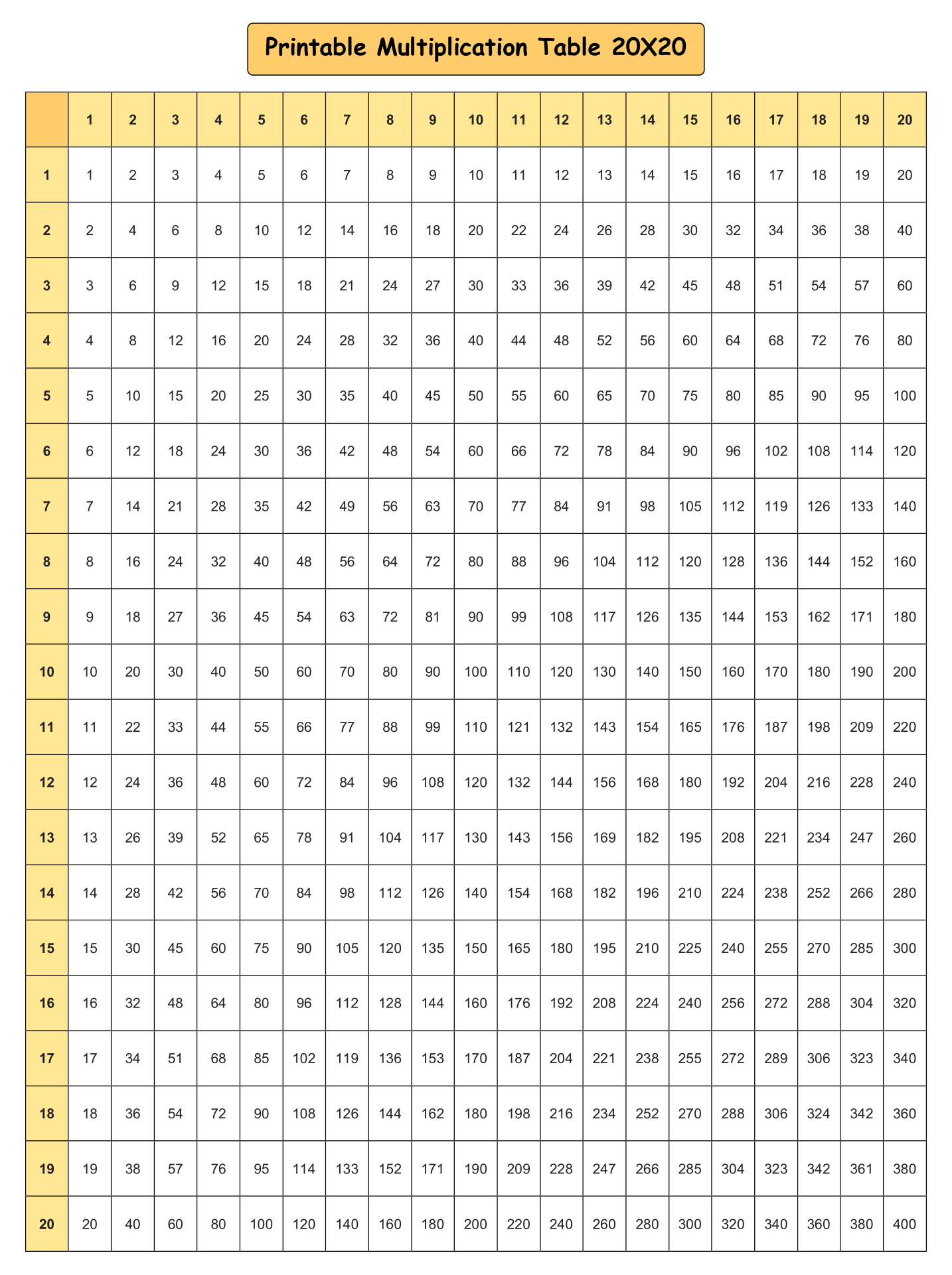 20 X 20 Multiplication Grid Printable