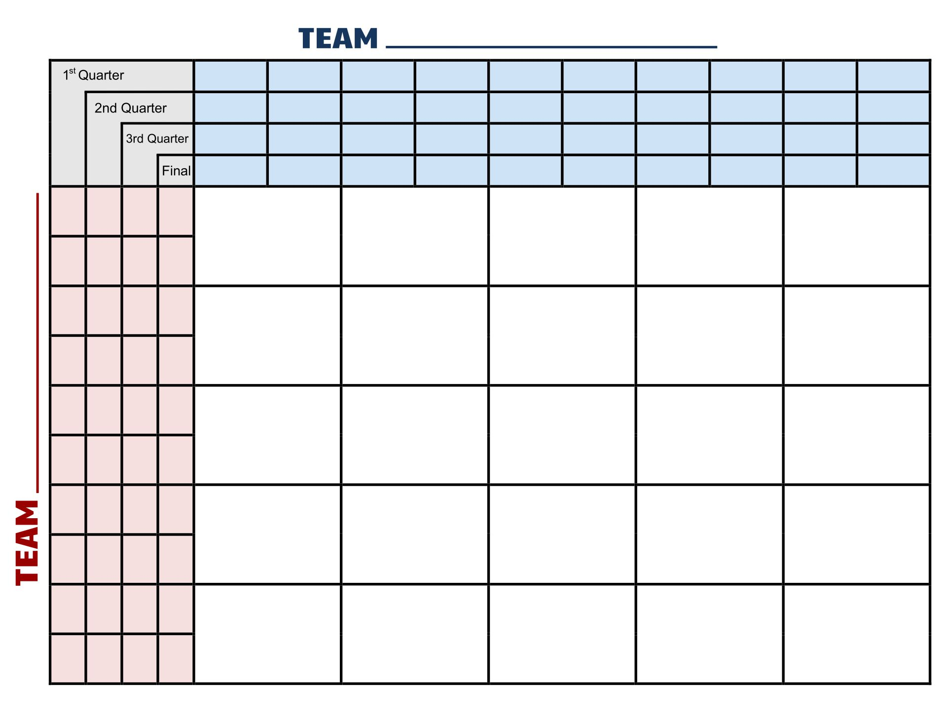 25 Square Football Pool Printable
