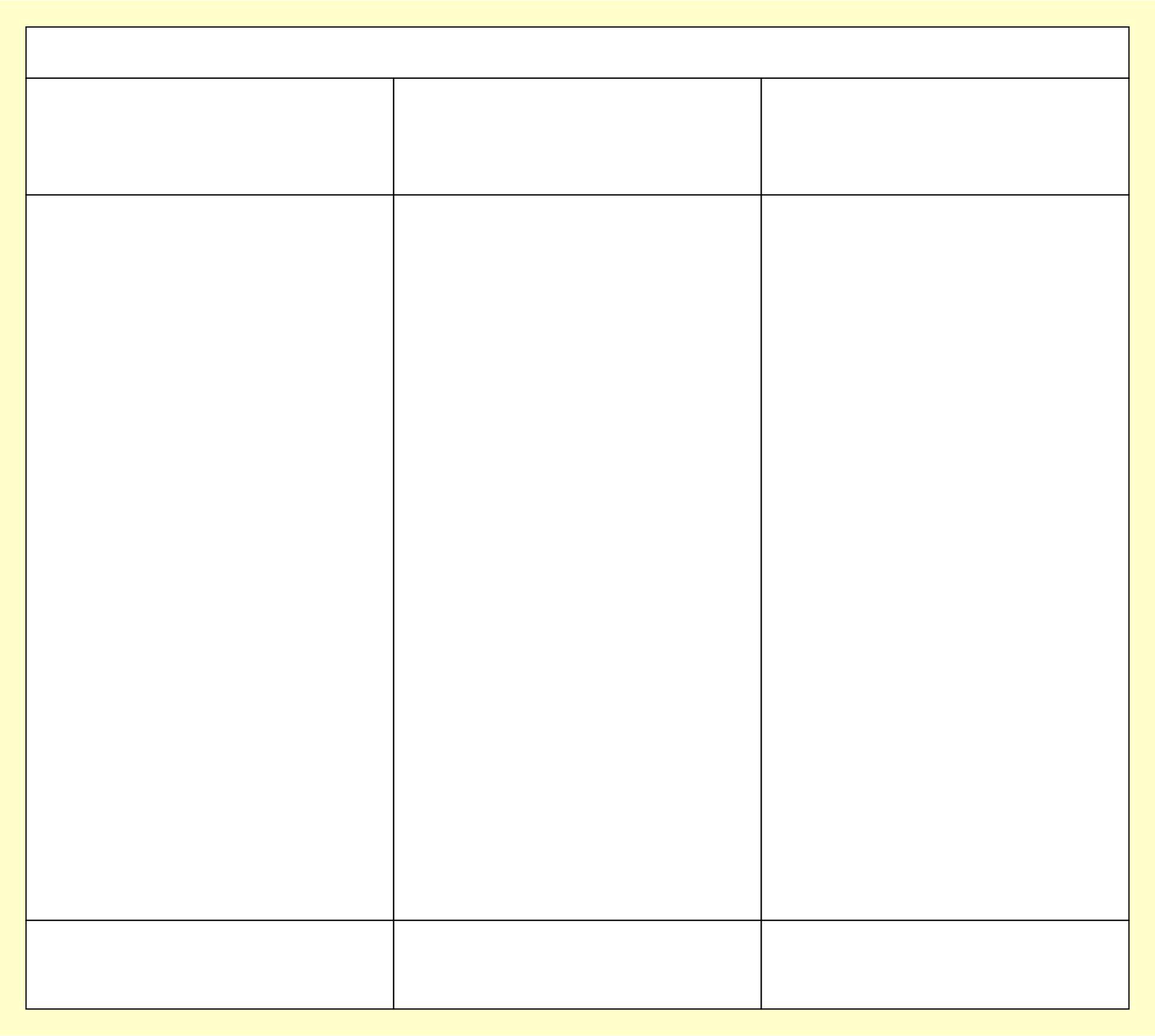 3 Column T Chart Template