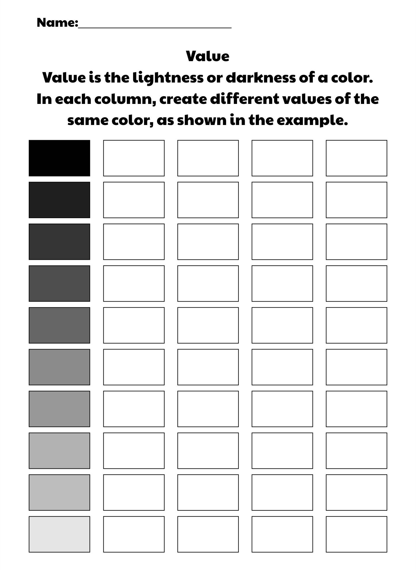 Color Value Scale Worksheet