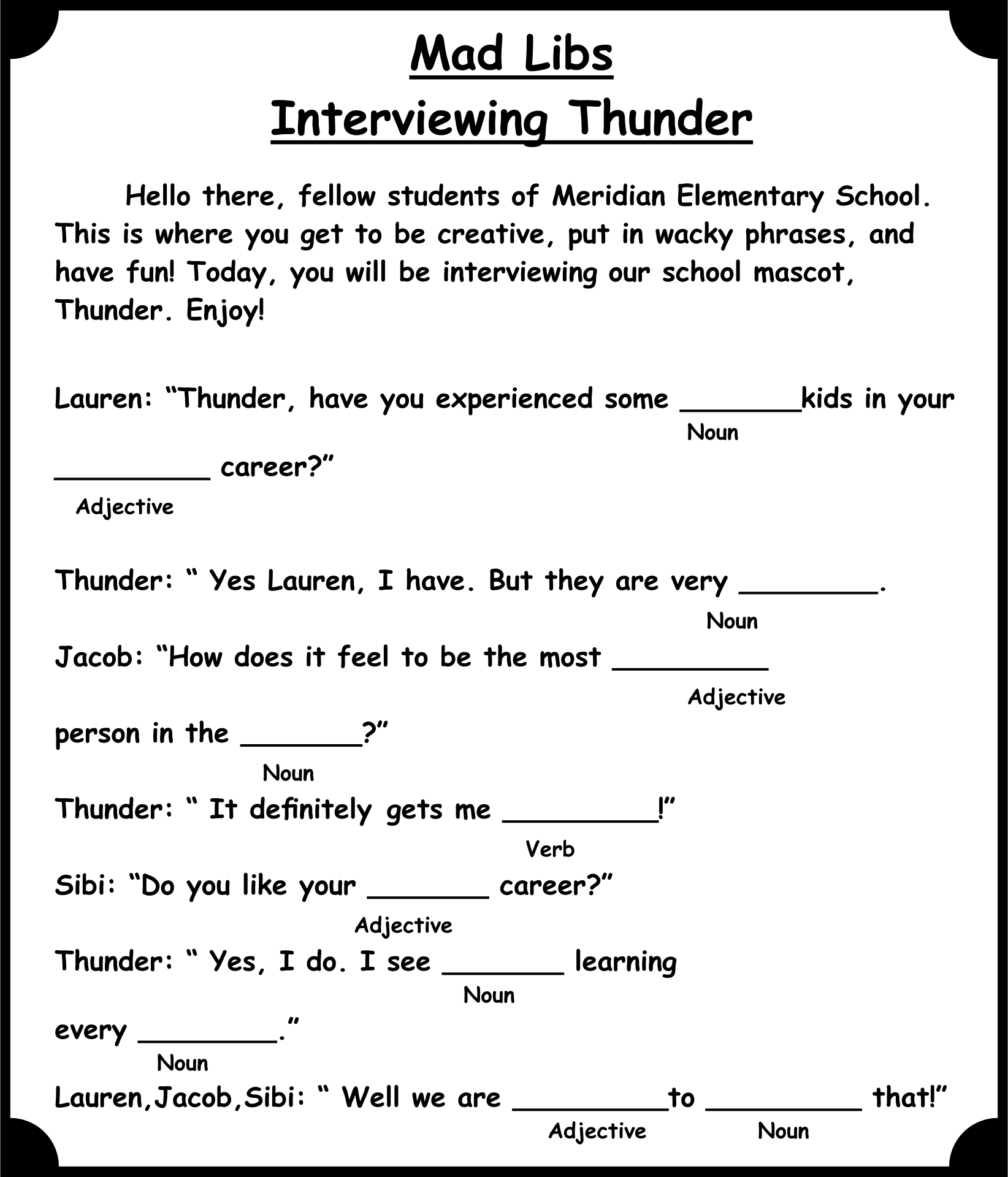 Downloadable Office Mad Libs Printable