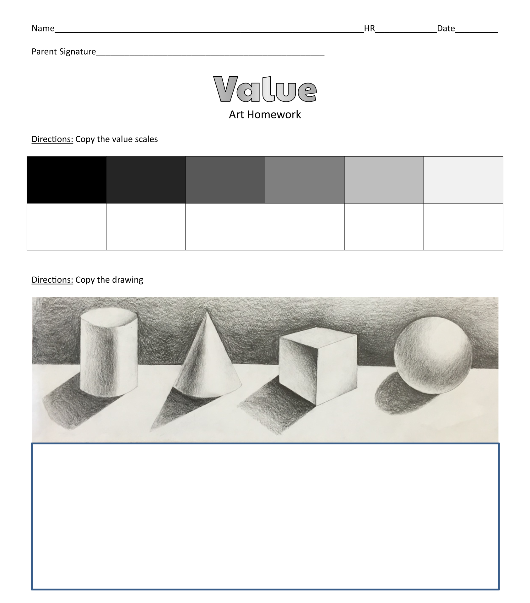 Drawing Value Scale Worksheet