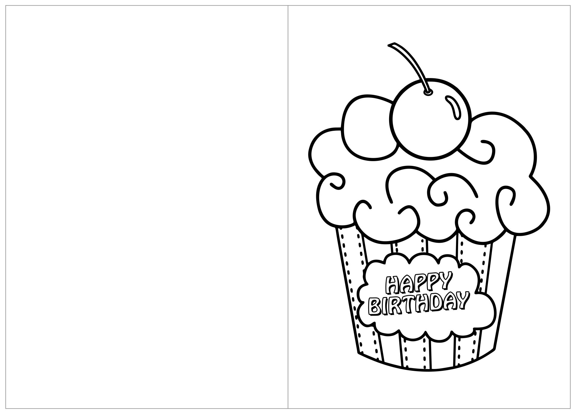 Foldable Printable Birthday Cards To Color