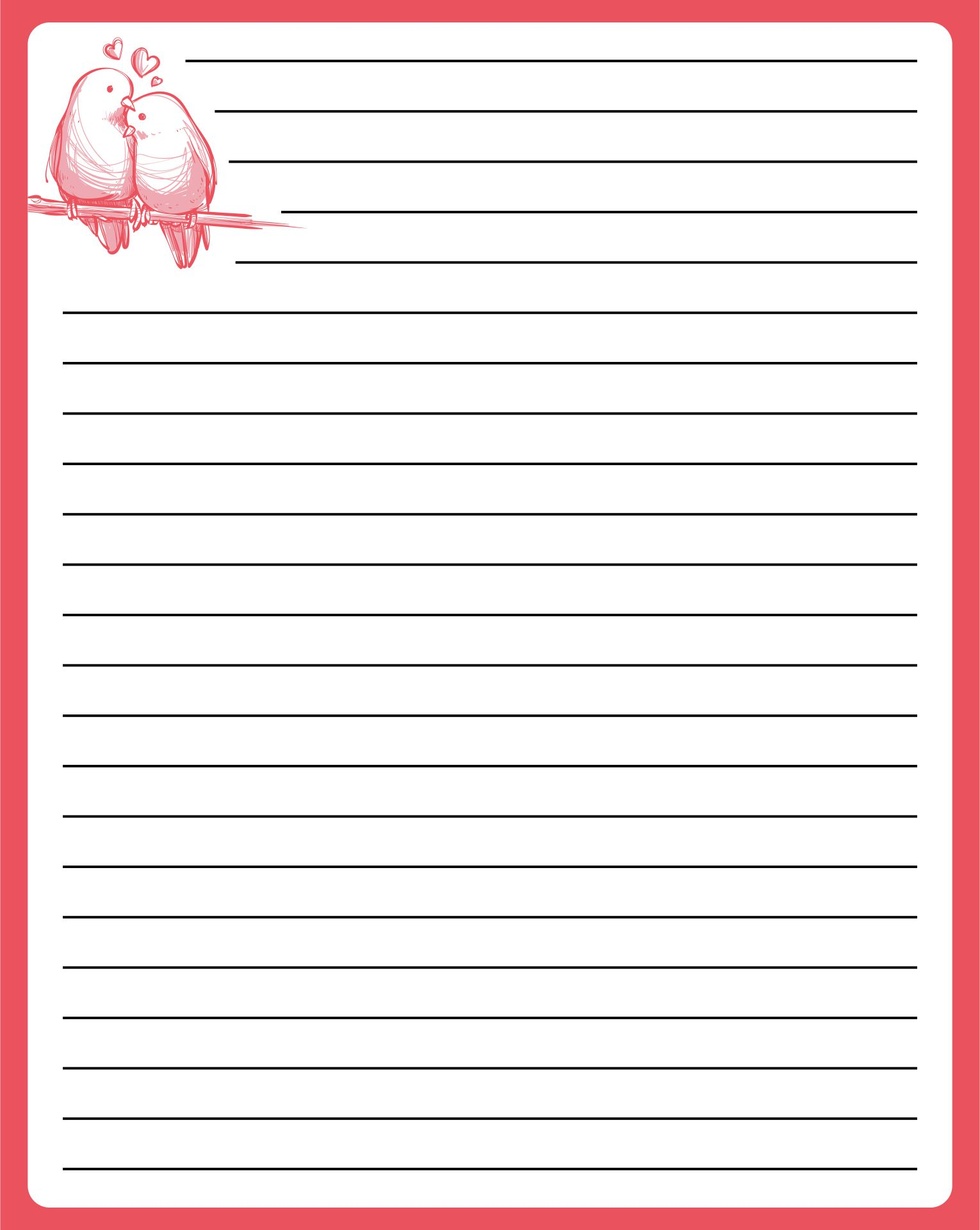 Free Love Letter Stationery Template