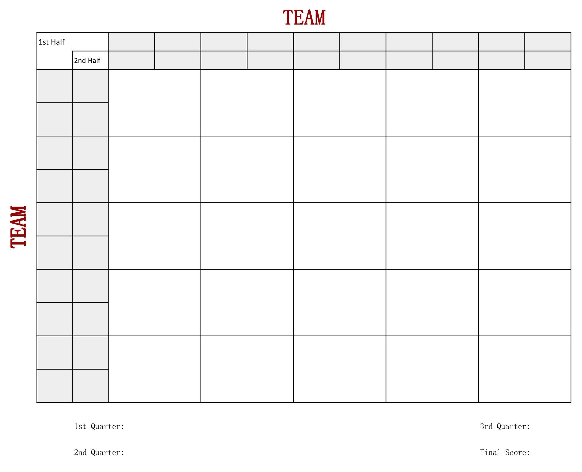 Free Printable 25 Square Football Pool