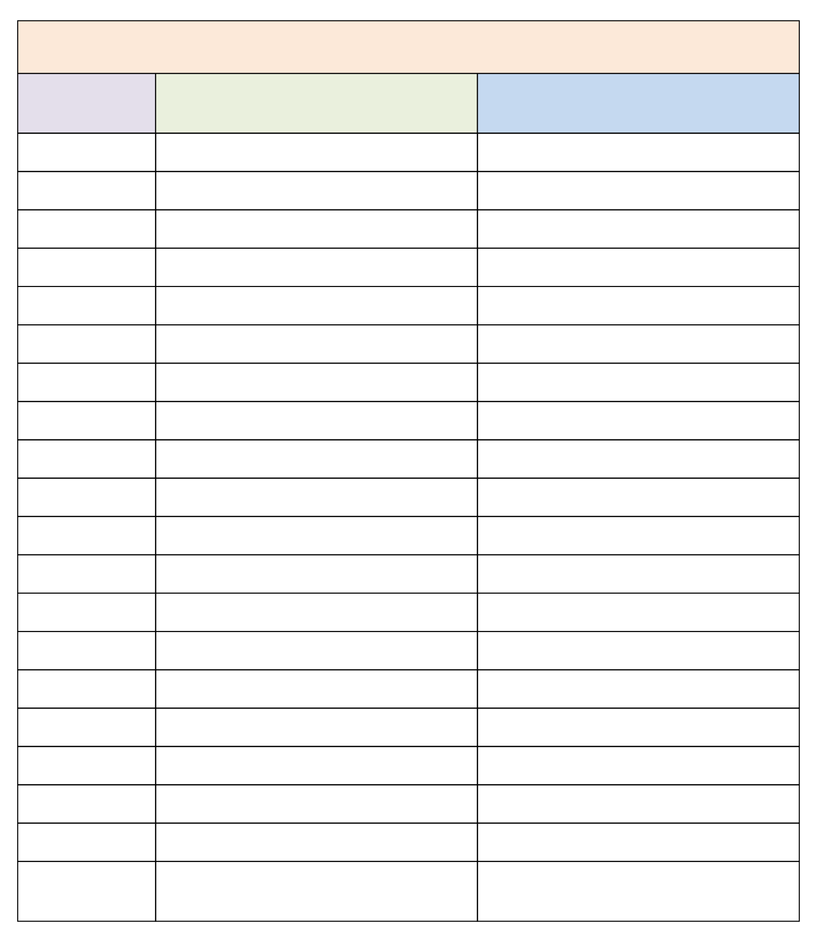 Free Printable 3 Column Chart With Lines