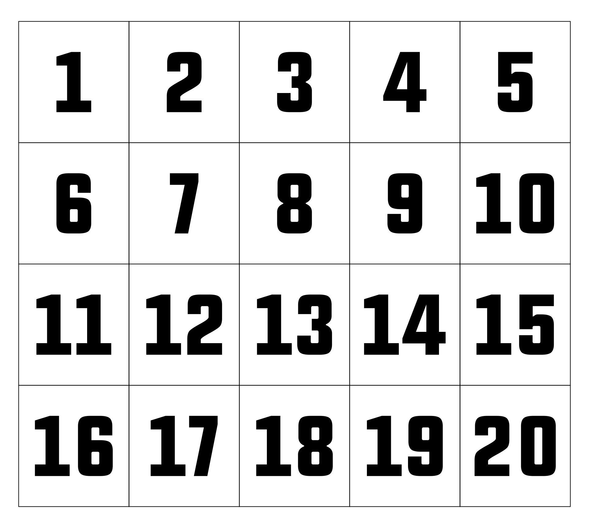 Free Printable Large Numbers 1-20