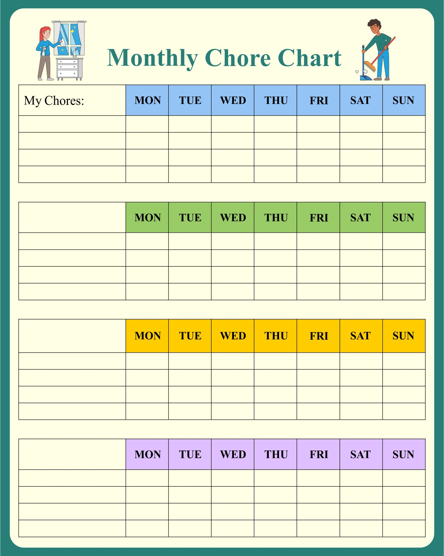 Free Printable Monthly Chore Chart Templates