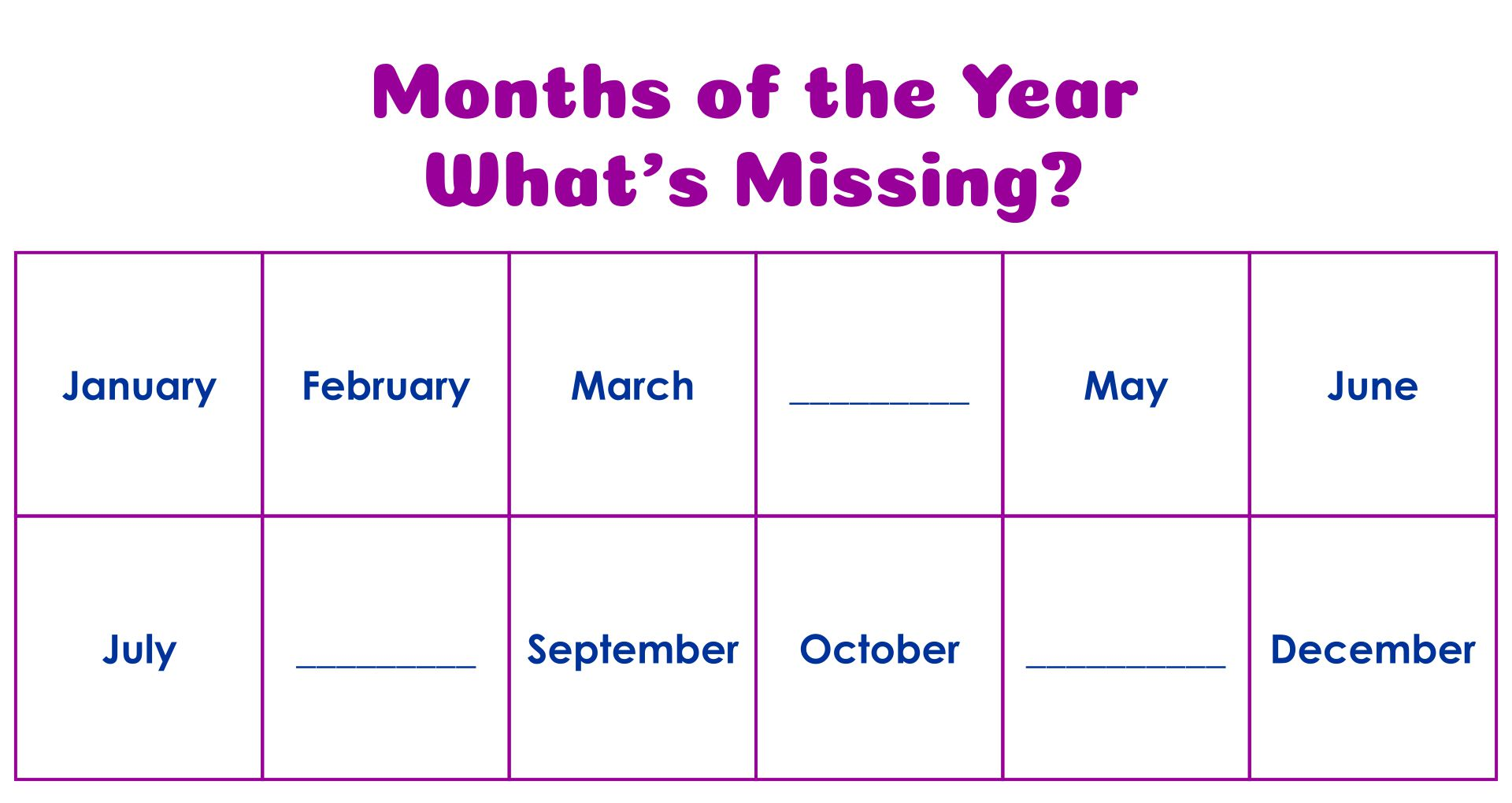 Free Printable Months Of The Year Worksheets For Kindergarten