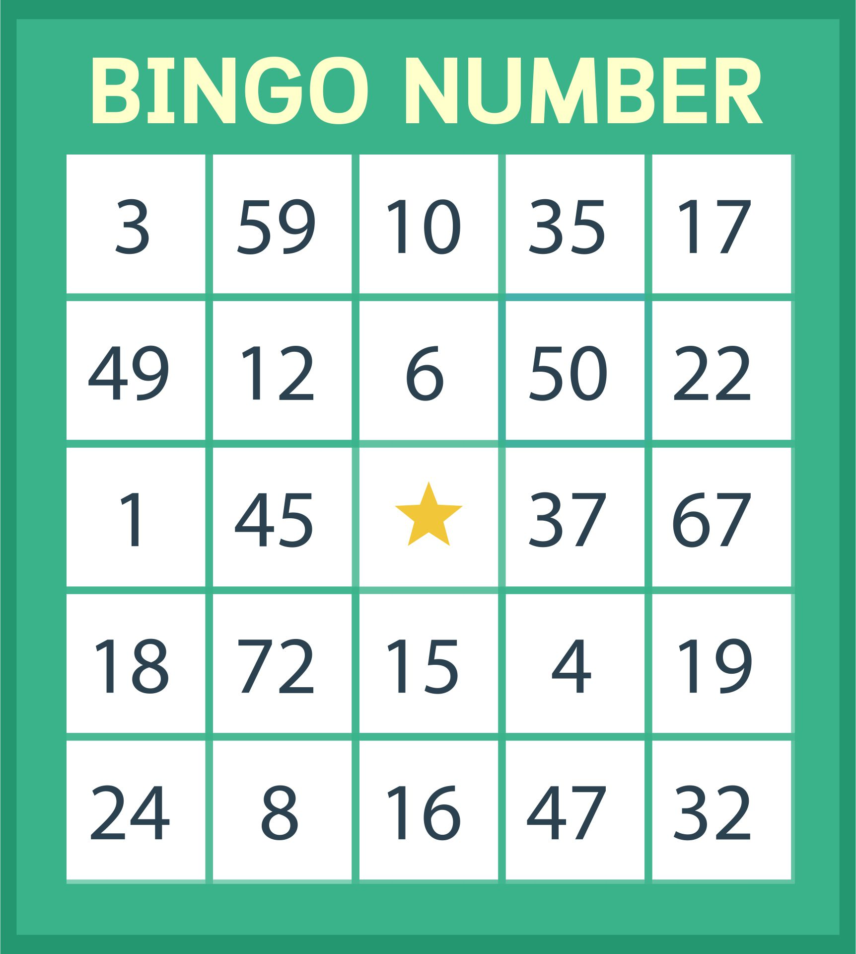 Free Printable Number Bingo Cards