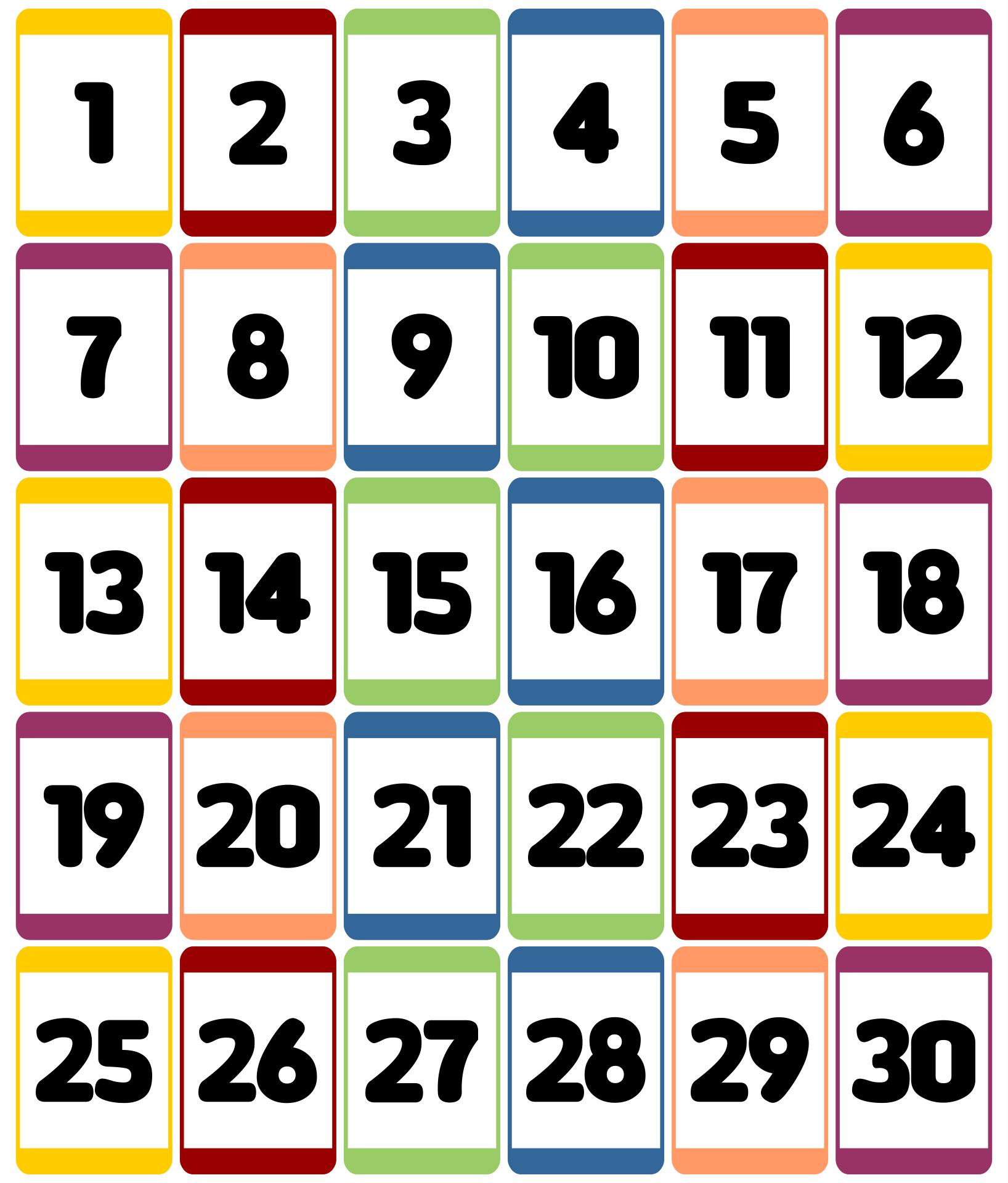 Kindergarten Number Flashcards 1-30