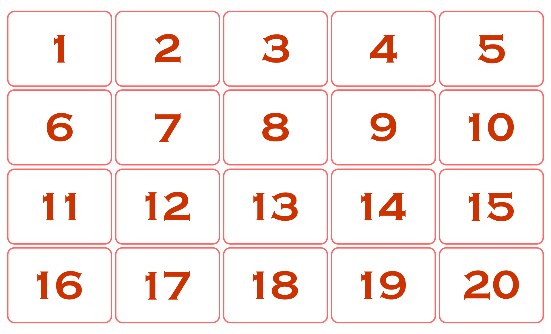 Large Number Chart 1 20