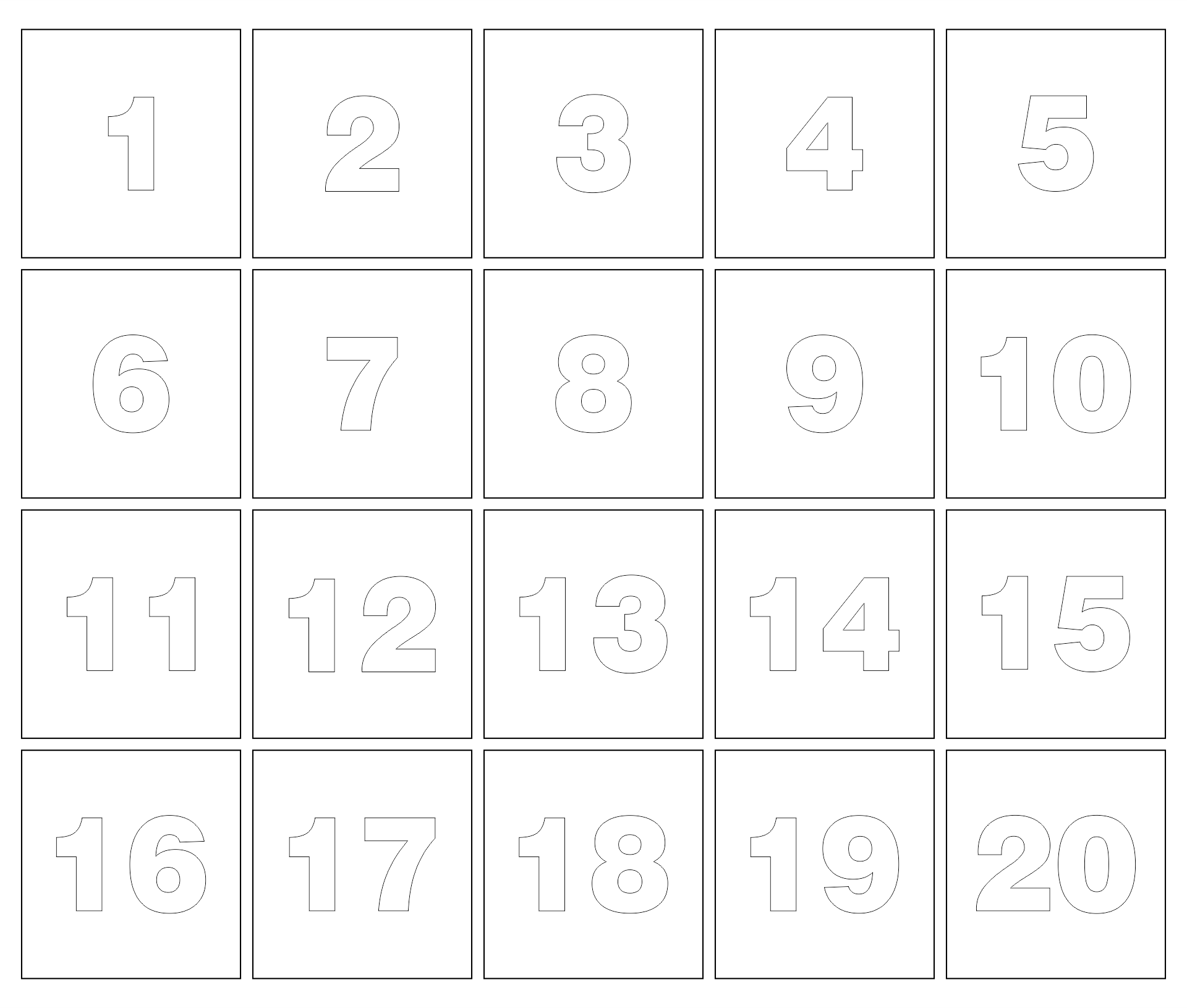 Large Number Templates 1-20