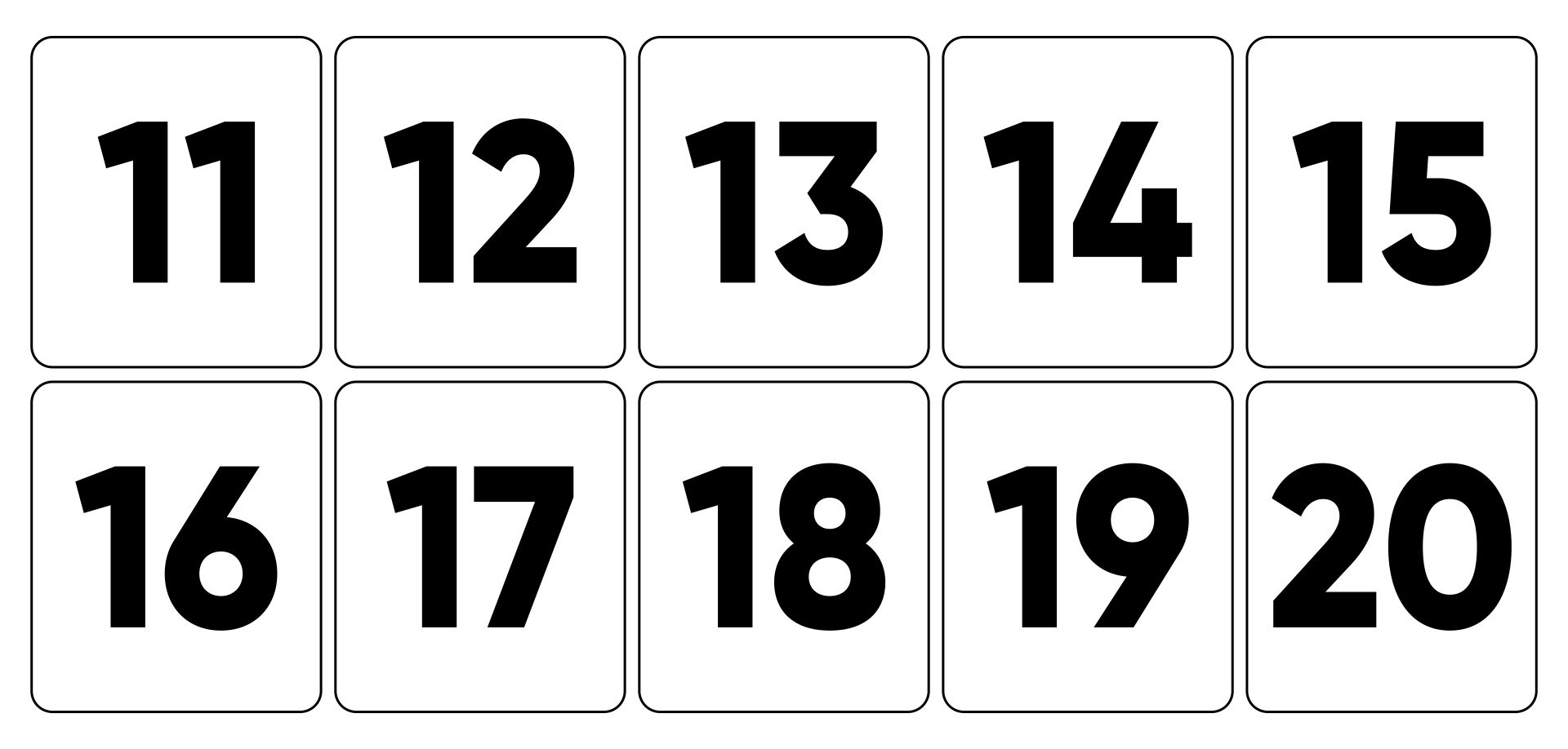 Large Numbers 11-20 To Print