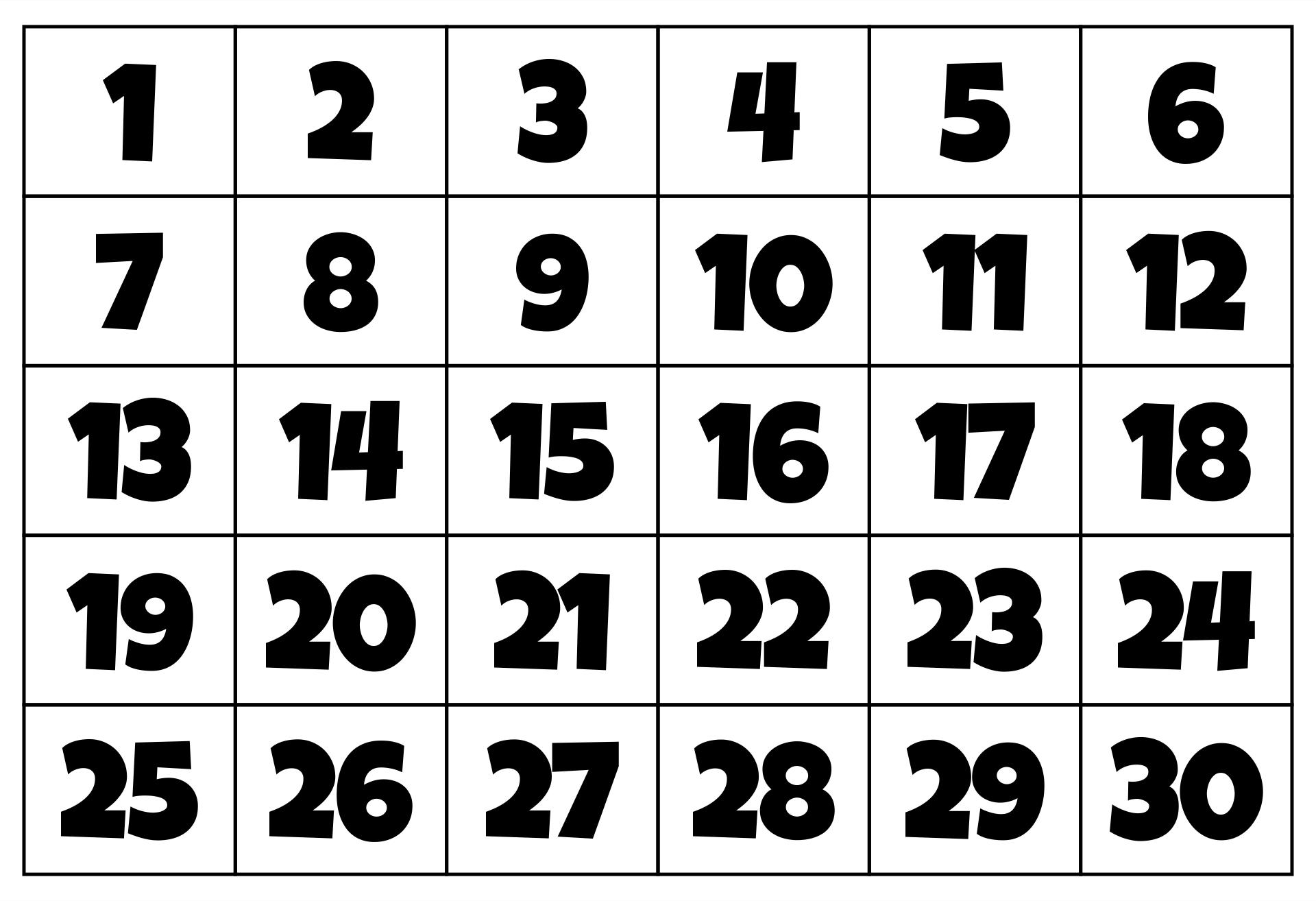 Large Printable Numbers 1 30 Pdf