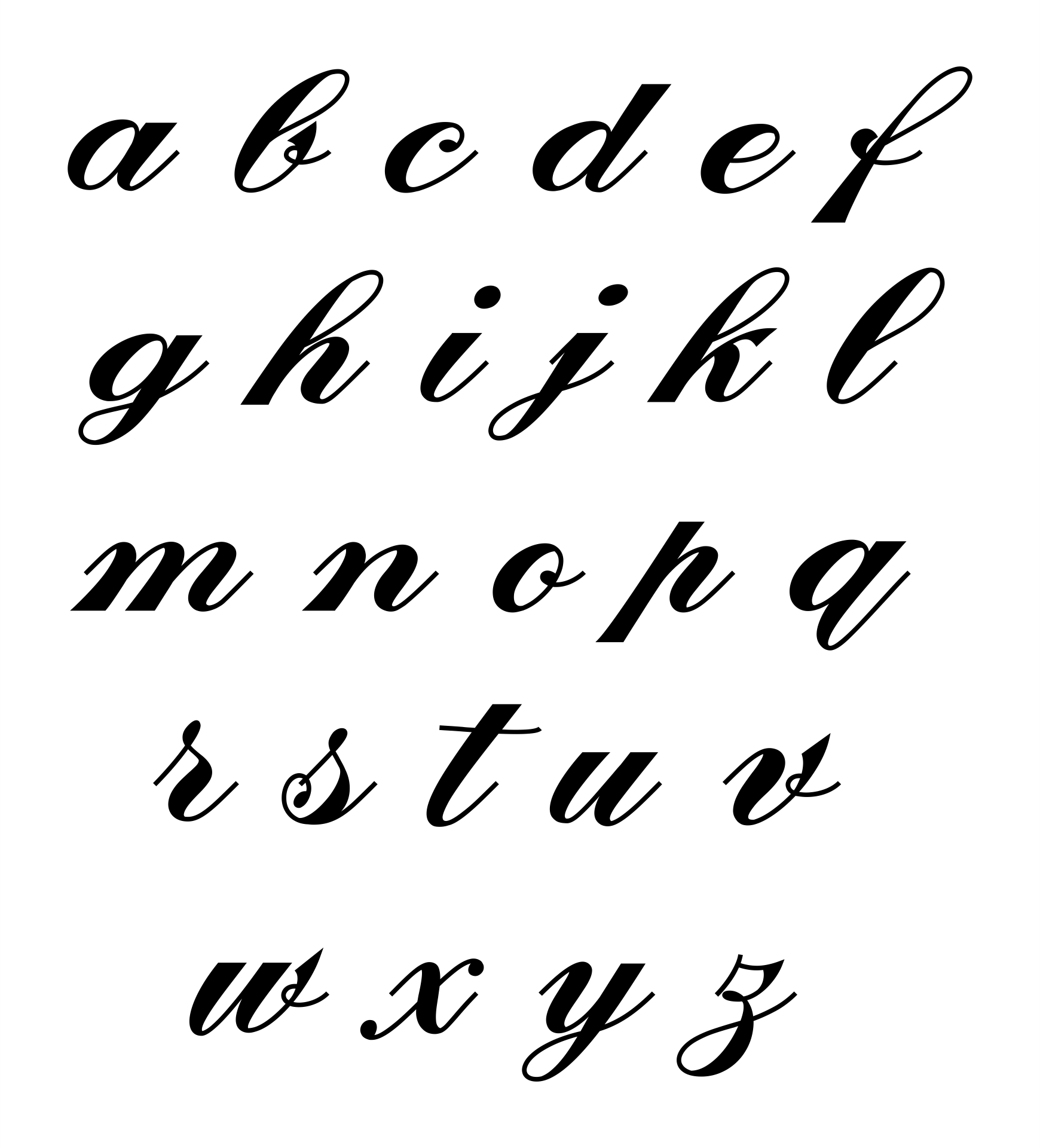 Lower Case Letters In Cursive