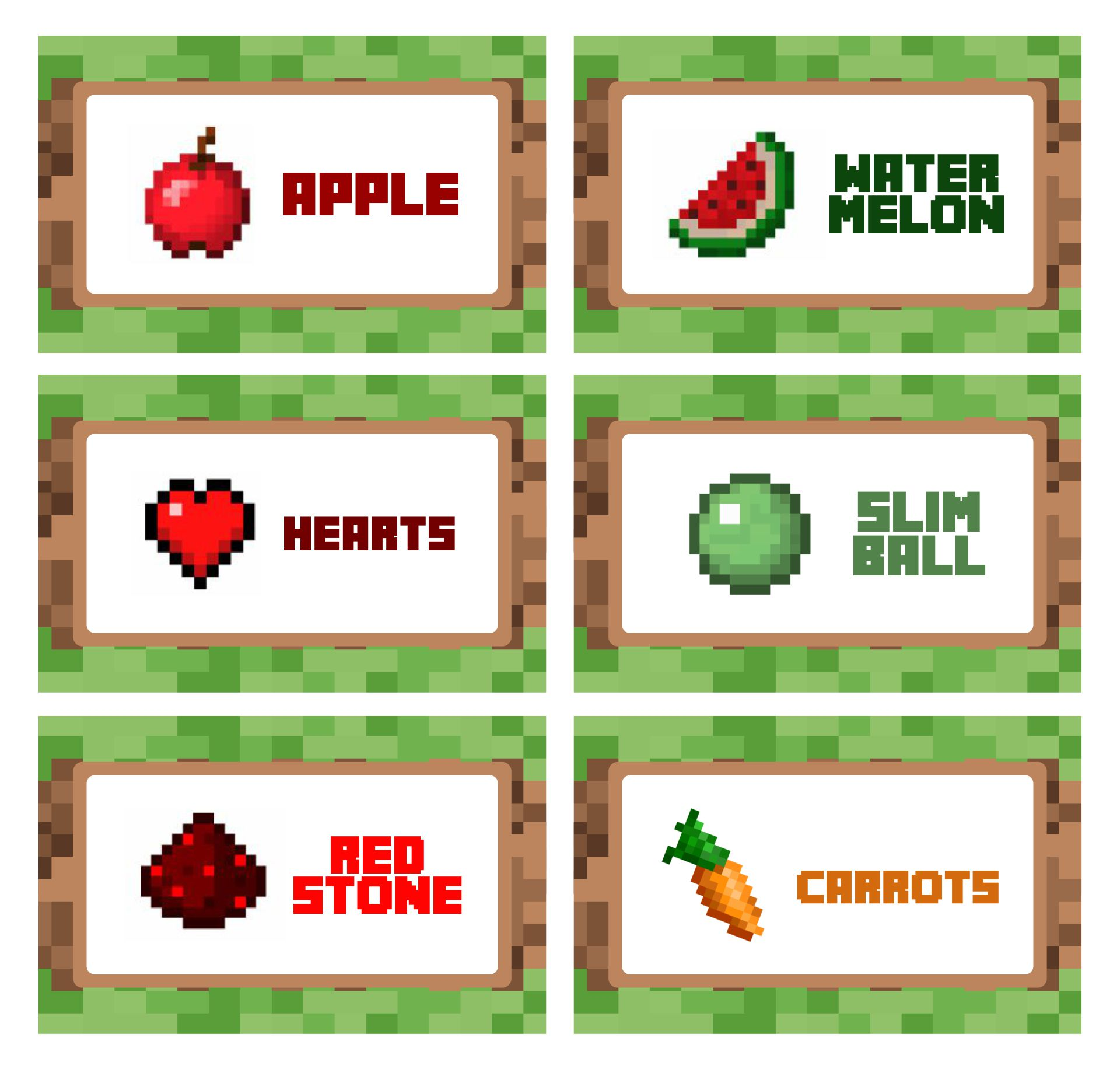 Minecraft Food Cards Free Printable