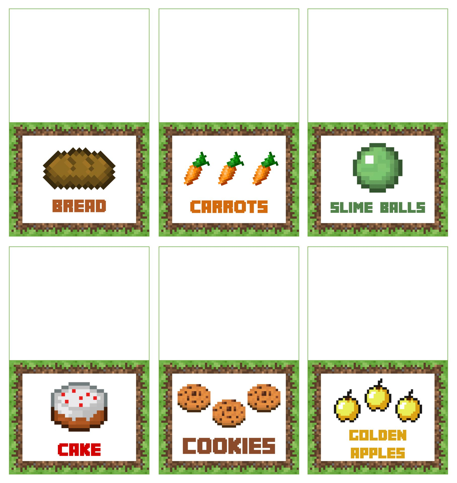 Minecraft Food Tent Cards Free Printable