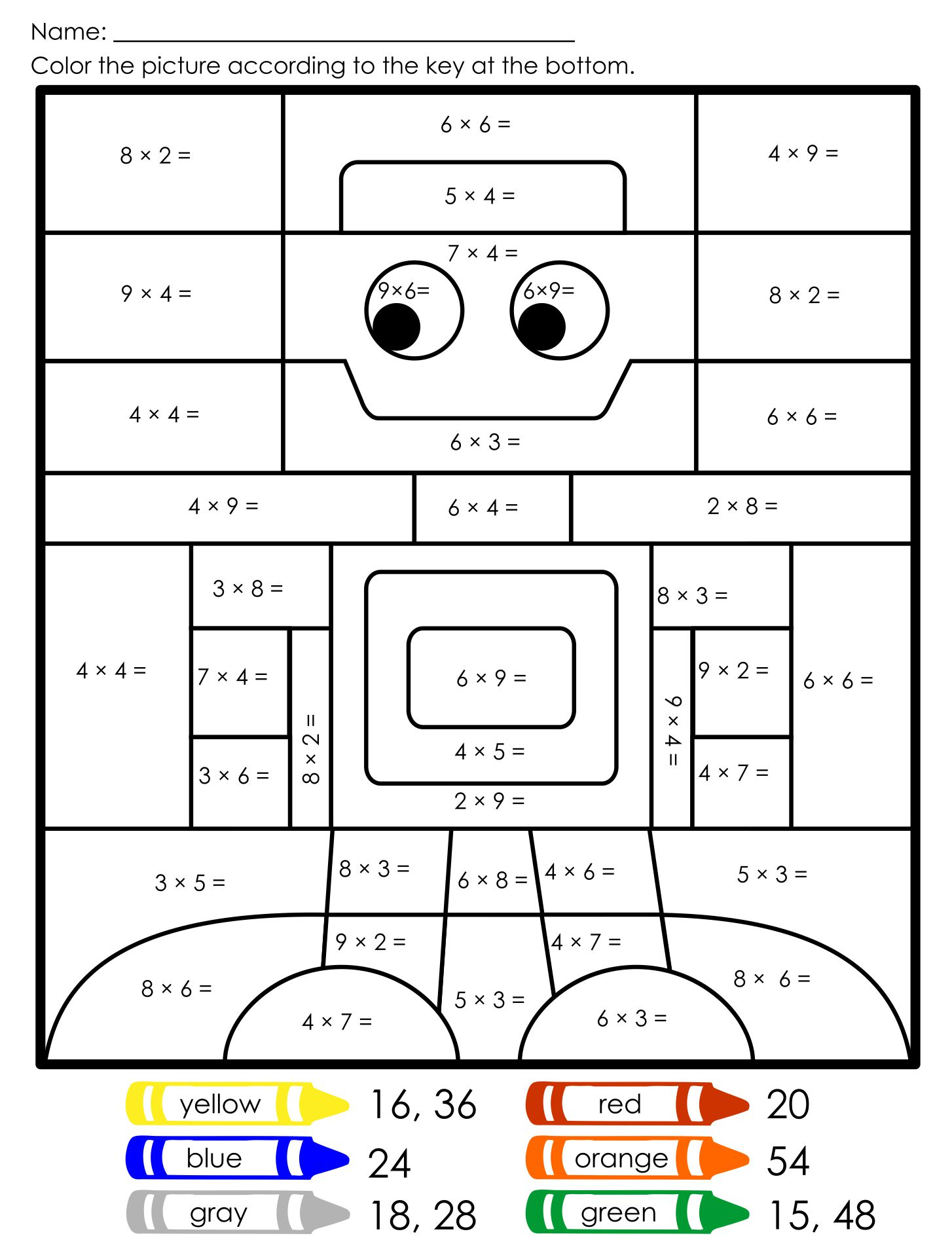 Multiplication Coloring Worksheets Free