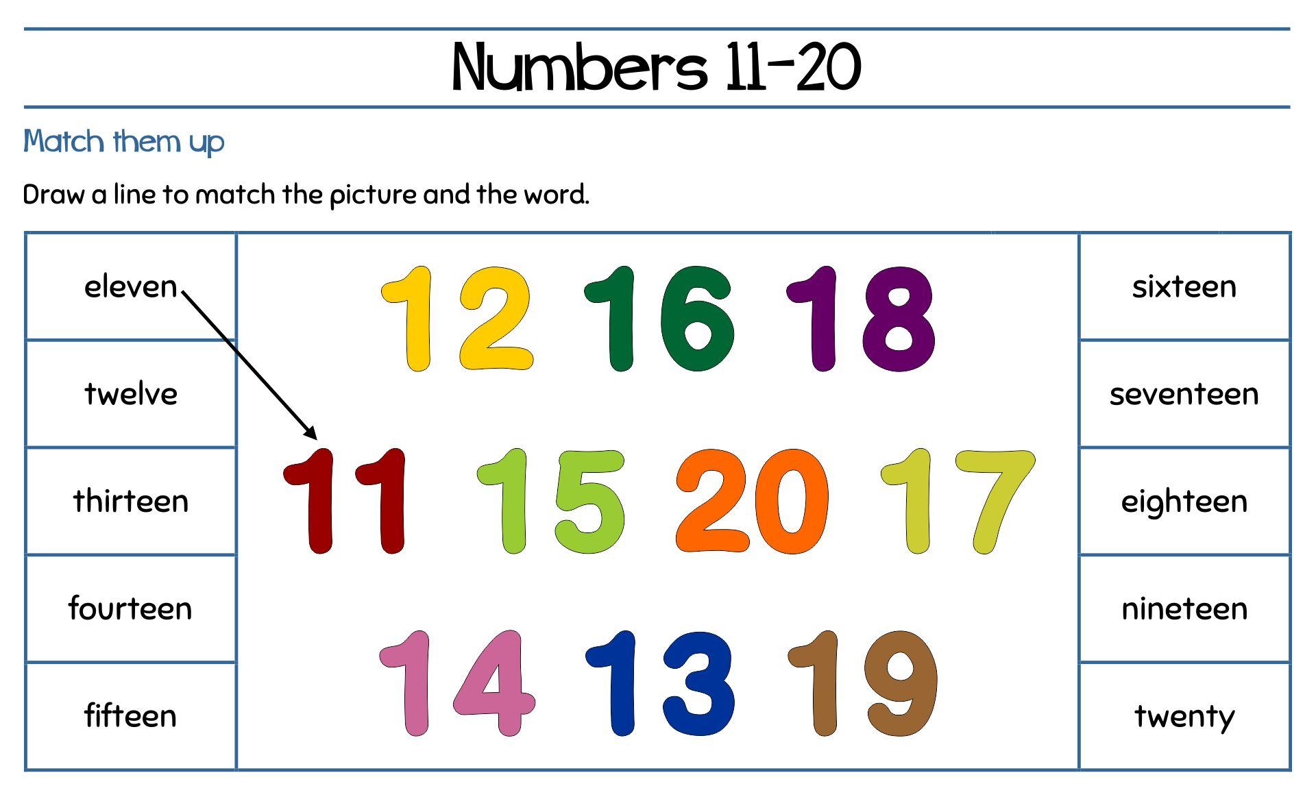 Numbers 11 20 Worksheets Pdf