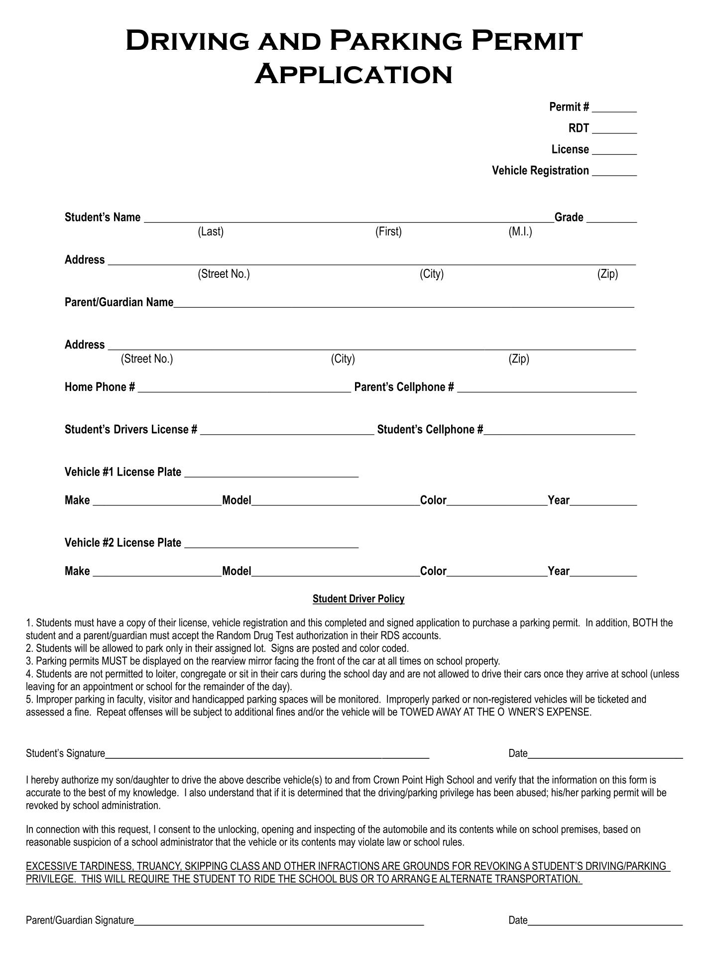 Parking Permit Application Form
