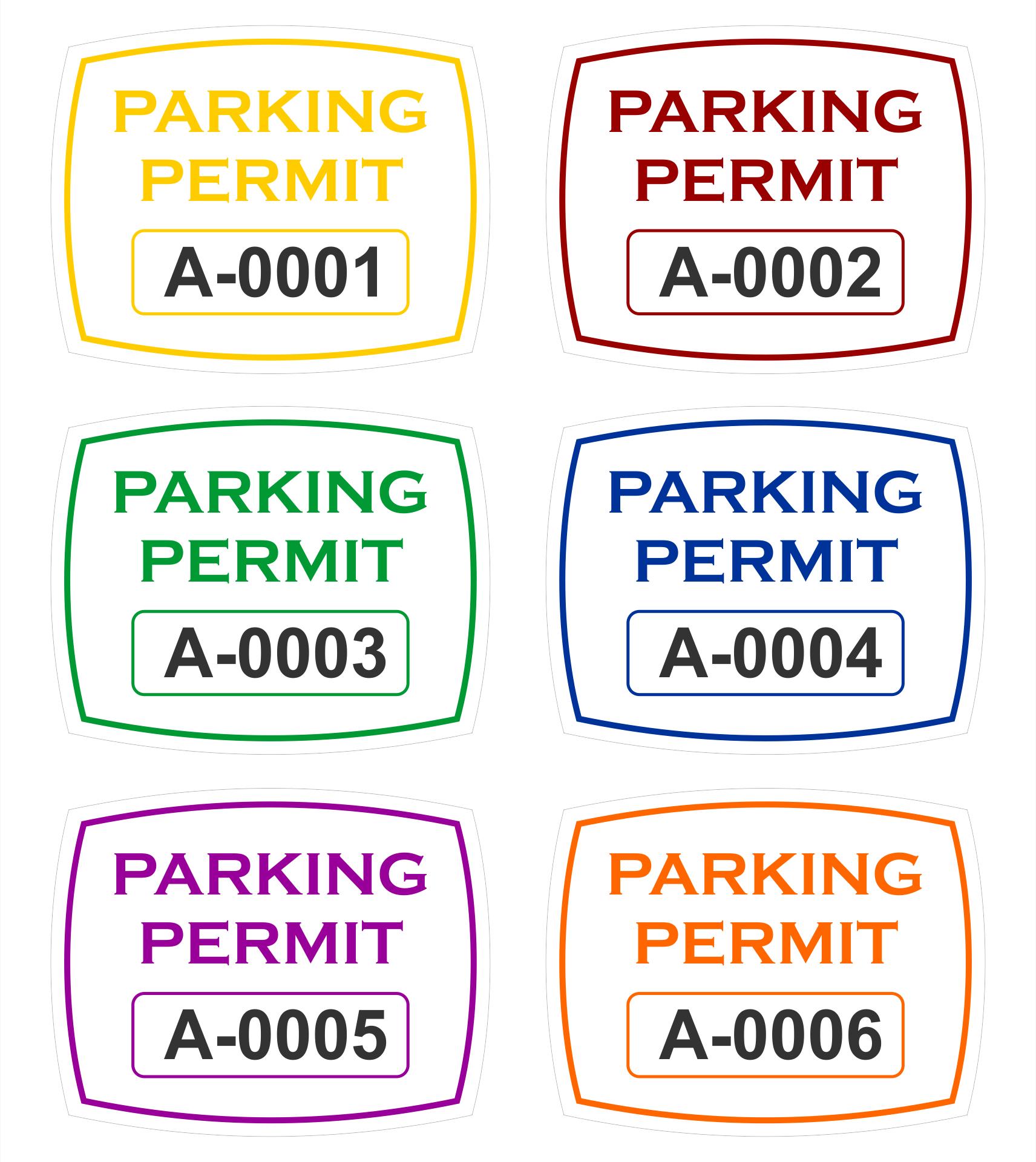 Parking Permit Sticker Template
