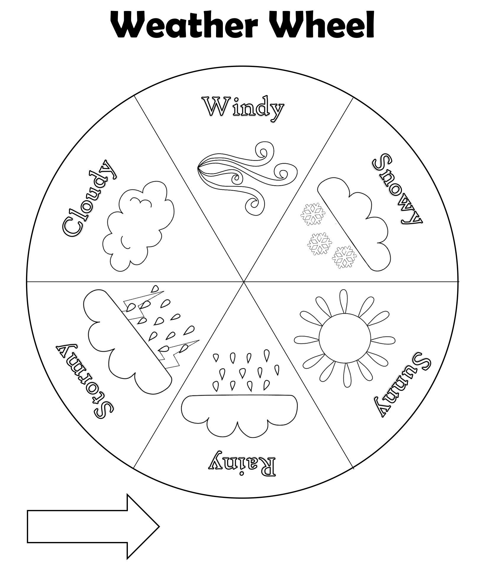 Preschool Weather Wheel Printable